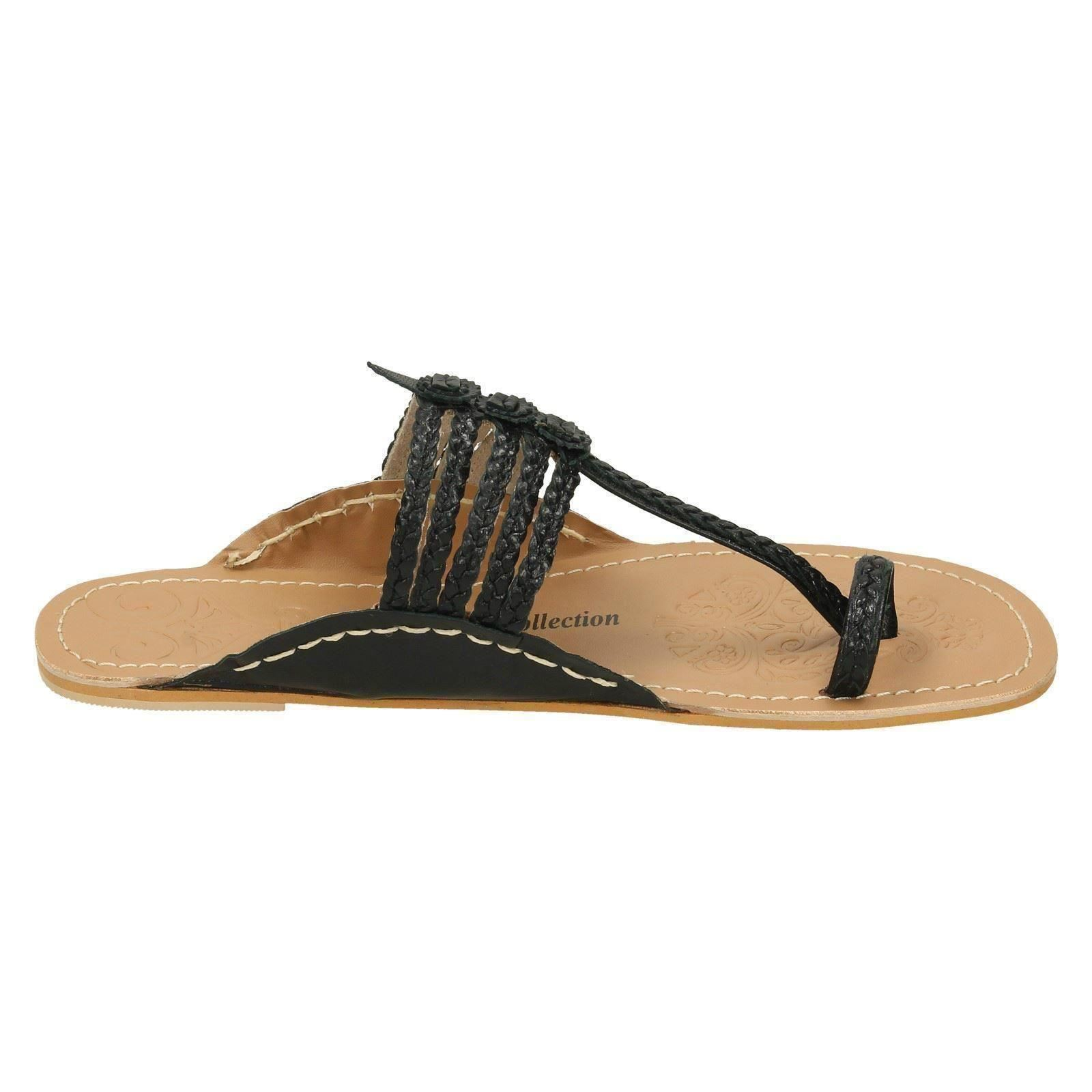 Ladies Leather Collection Flat Toeloop /'Braided Sandals/'