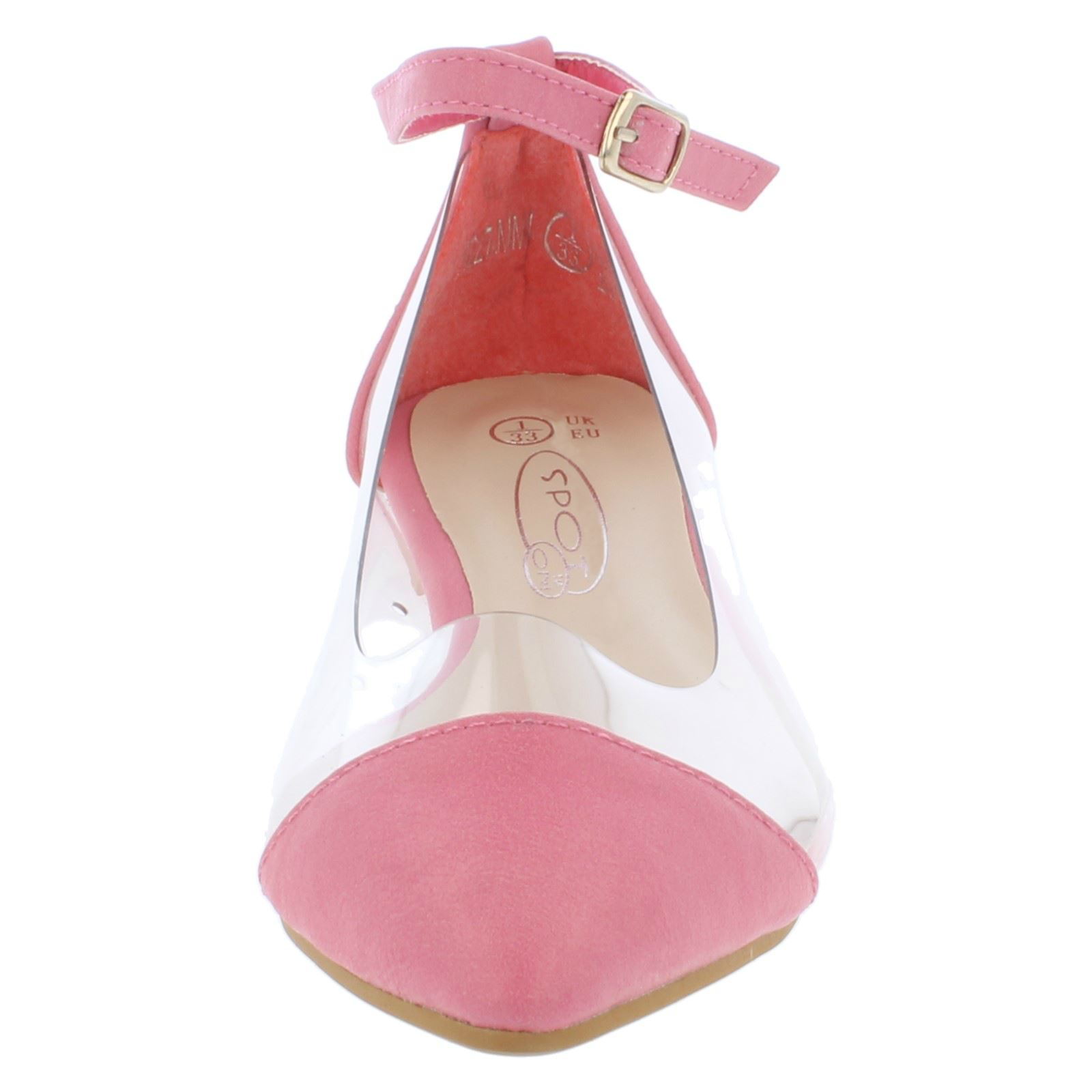 Spot On Girls Flat Clear Side Ballerina with Ankle Strap