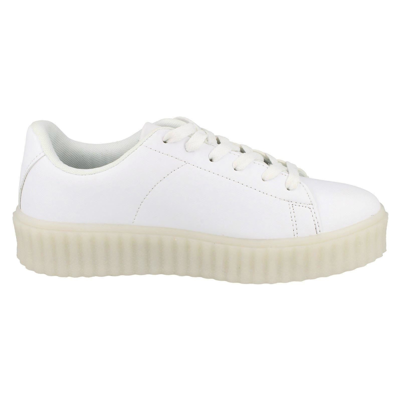 Spot On Ladies Casual Lace Up LED Outsole Creeper Trainers