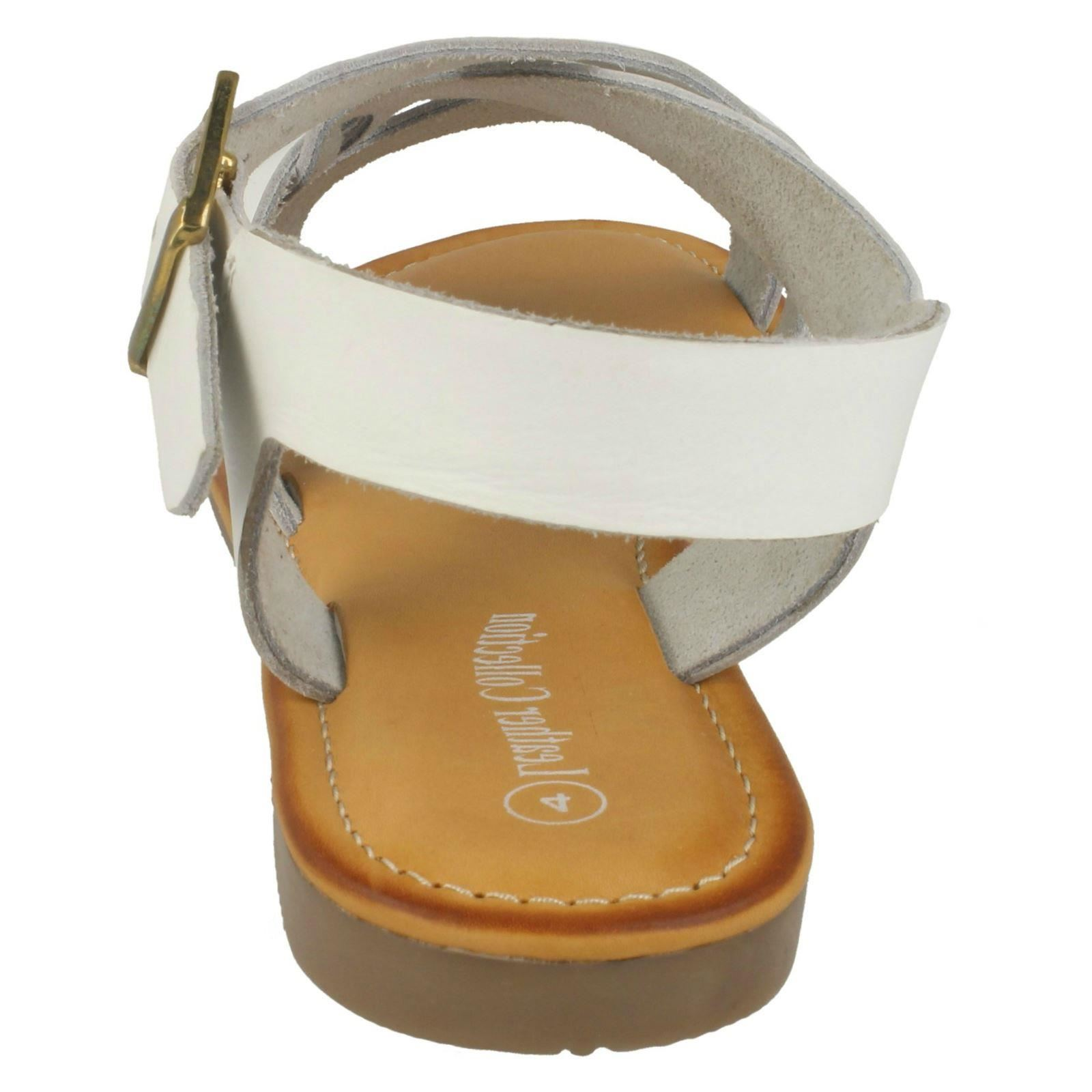 Ladies Leather Collection Leather Slingback Flat Sandals