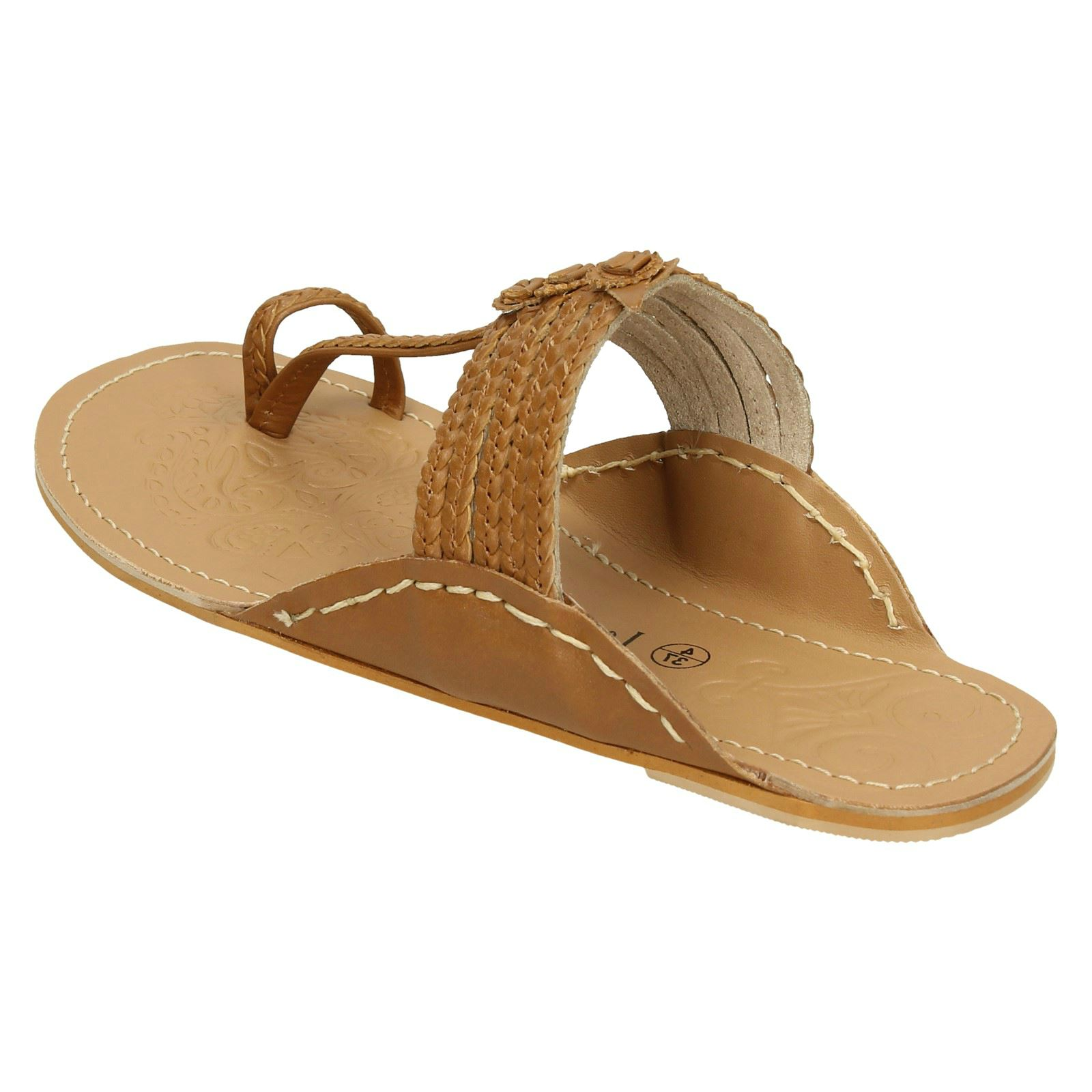 Ladies Leather Collection Flat Toeloop Braided Sandals