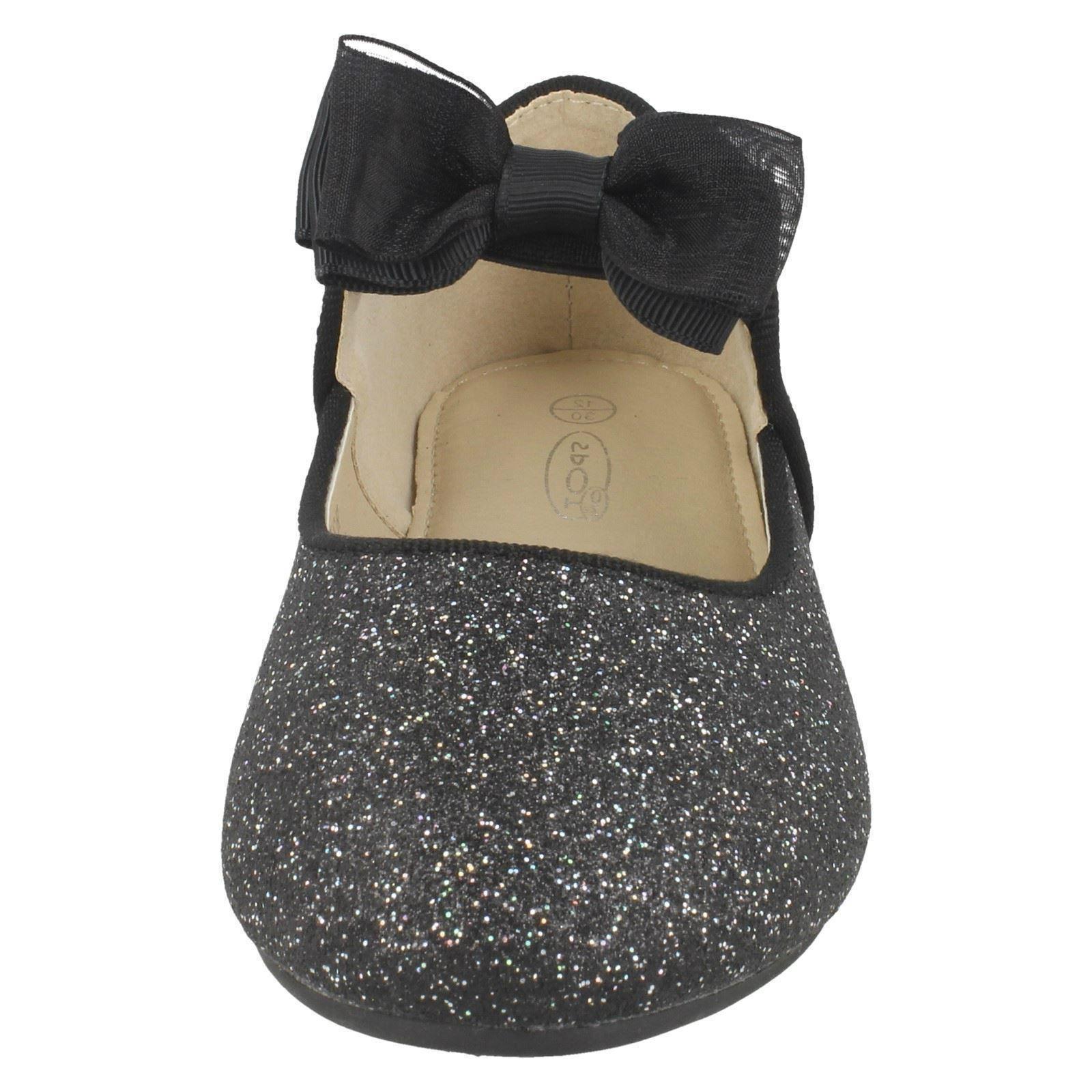 Spot On Girls Bow Trim Glitter Ballerinas