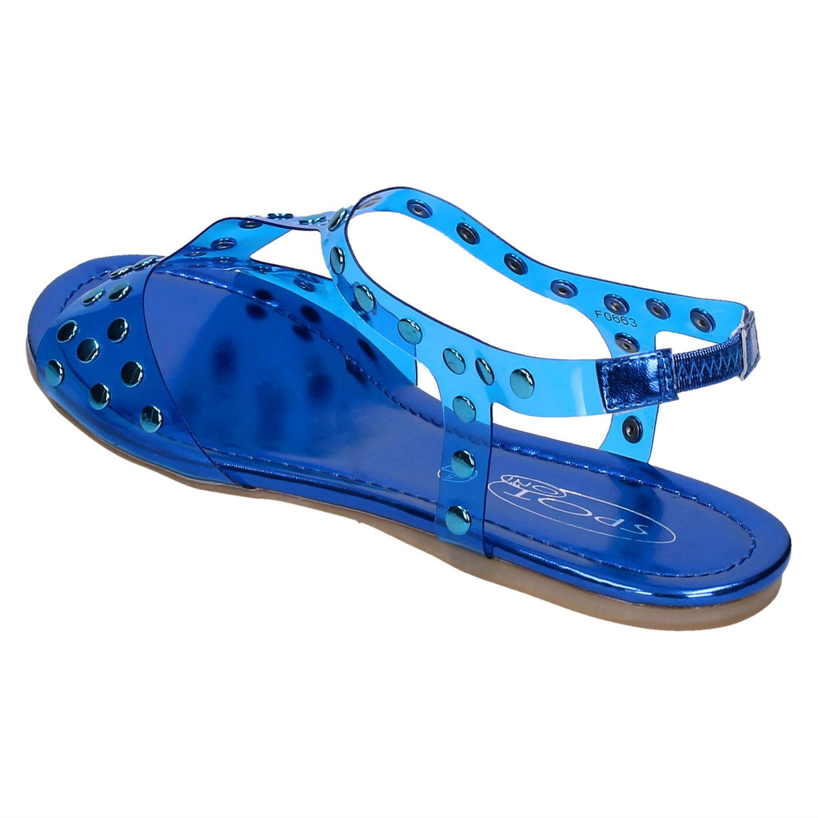 Sandal Ladies Spot On Flat Studded Jelly