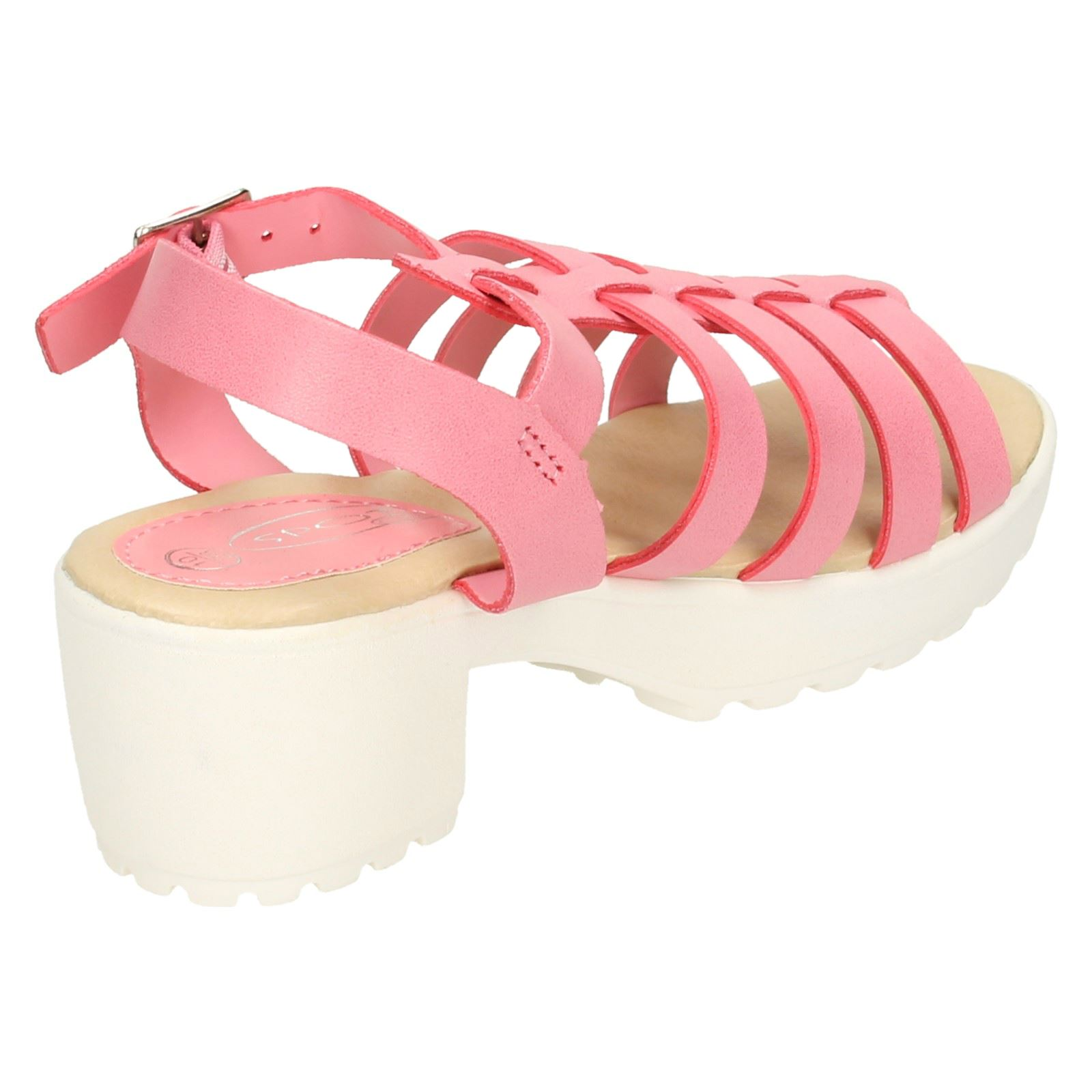 Girls Spot On Chunky Heeled Retro Look Sandals