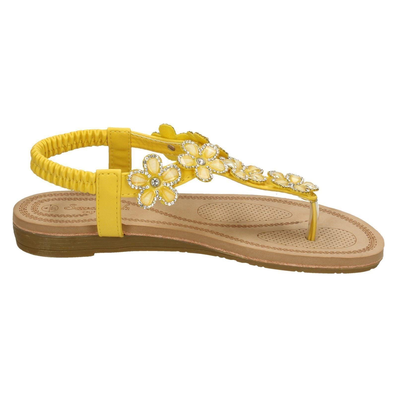 Savannah Ladies Low Wedge Toepost Sandals