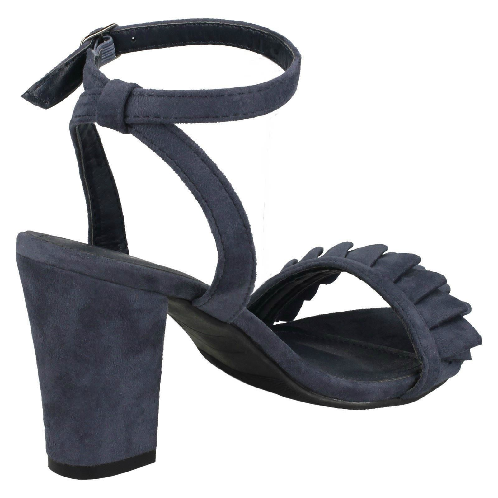 Ladies Spot On Mid Chunky Heel Sandals With Ruffle Trim