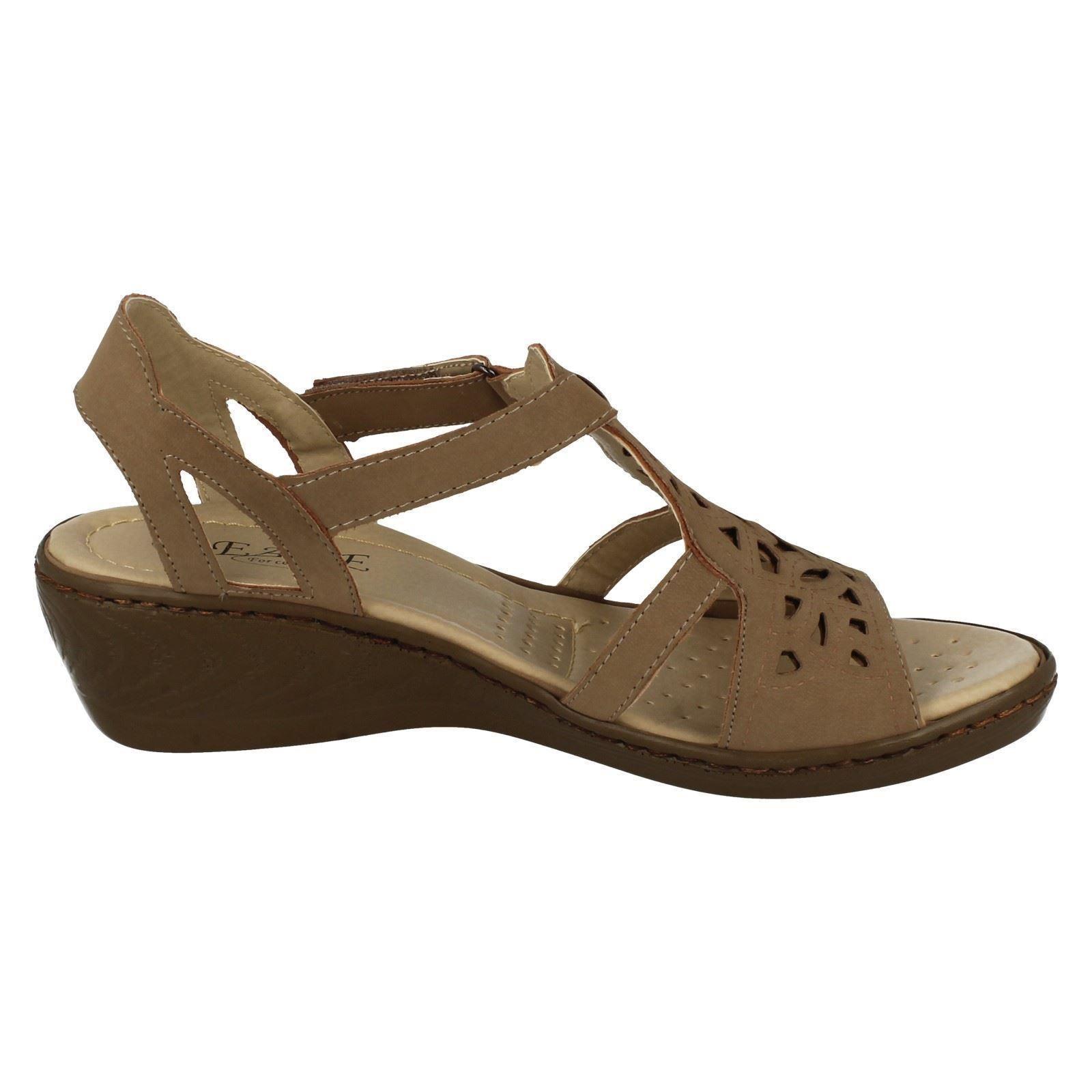 Ladies Eaze Comfort Open Toe Wedged Sandals