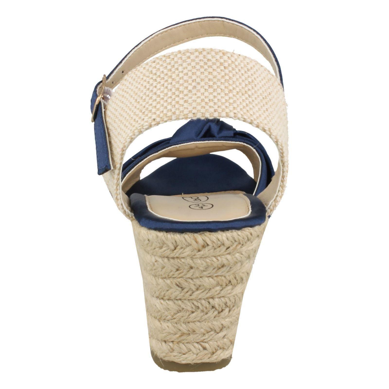Ladies Spot On Twist Satin Textile Bow Espidrille Med Wedge Heel Sandals F2R269