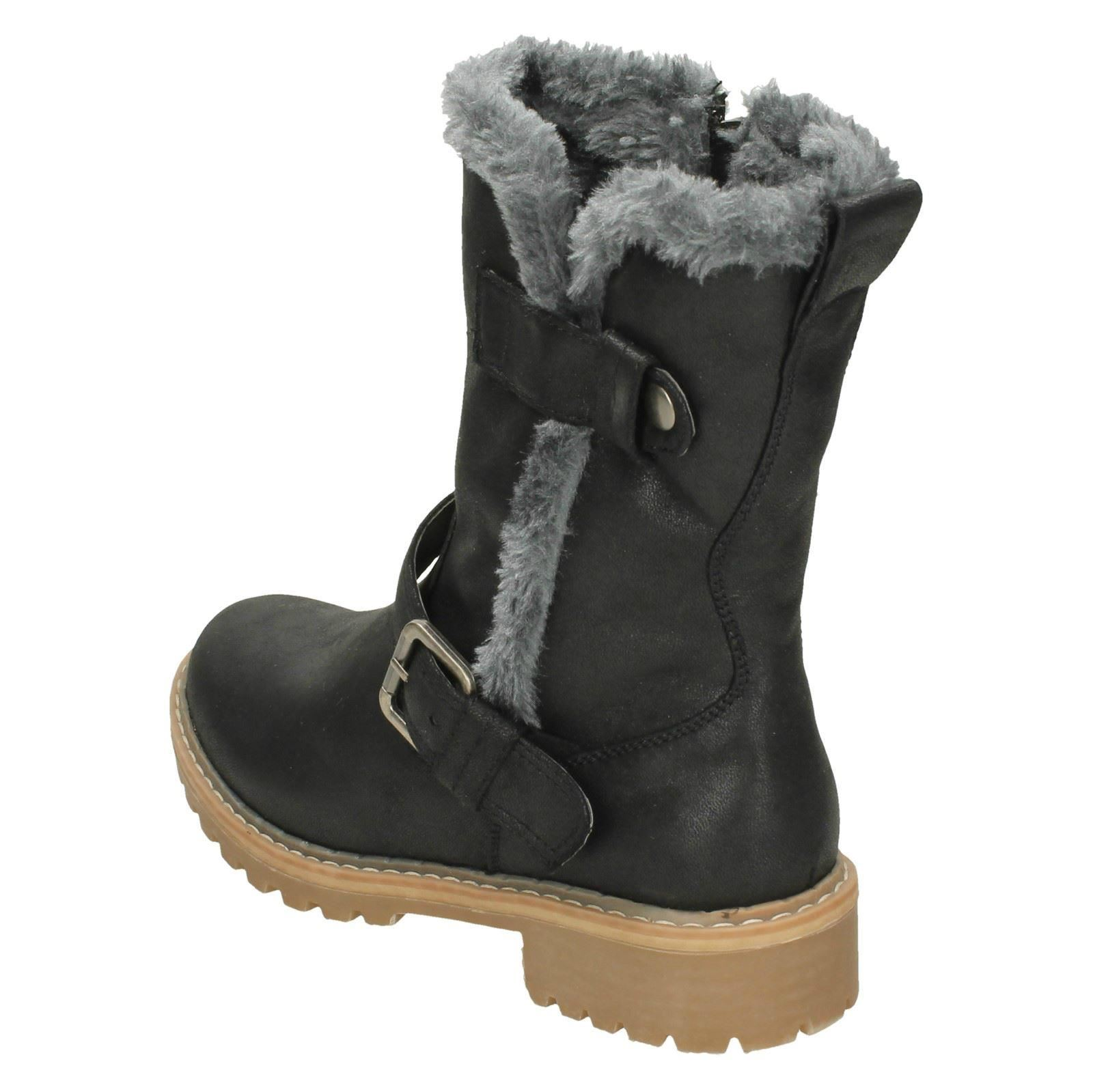 Down To Earth Ladies Fur Trim Calf Boots