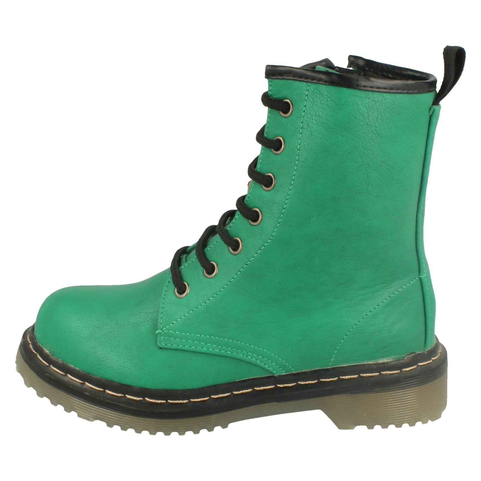 Girls Spot On Chunky Sole Zip Up Ankle Boots