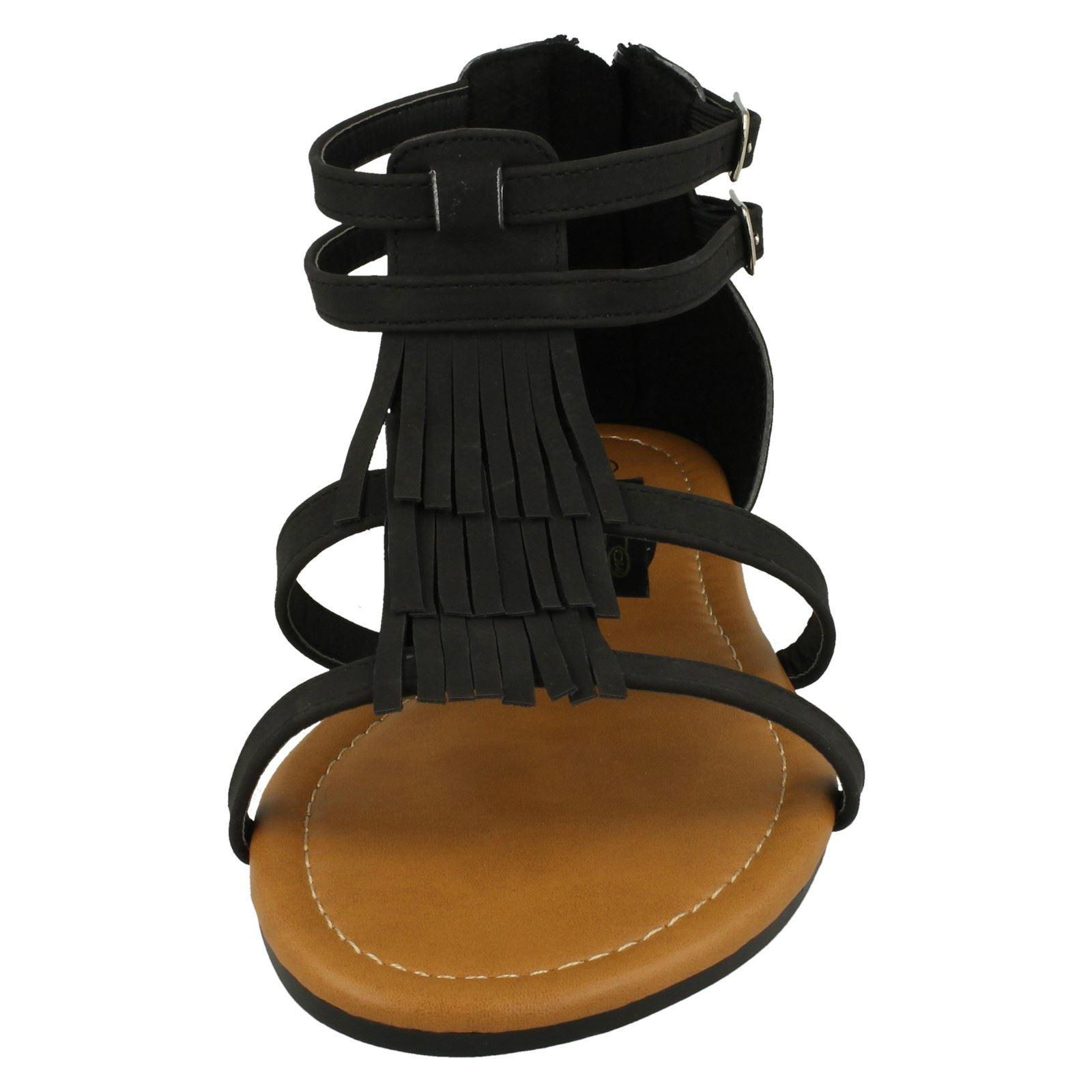 Ladies Spot On Tassle Sandals