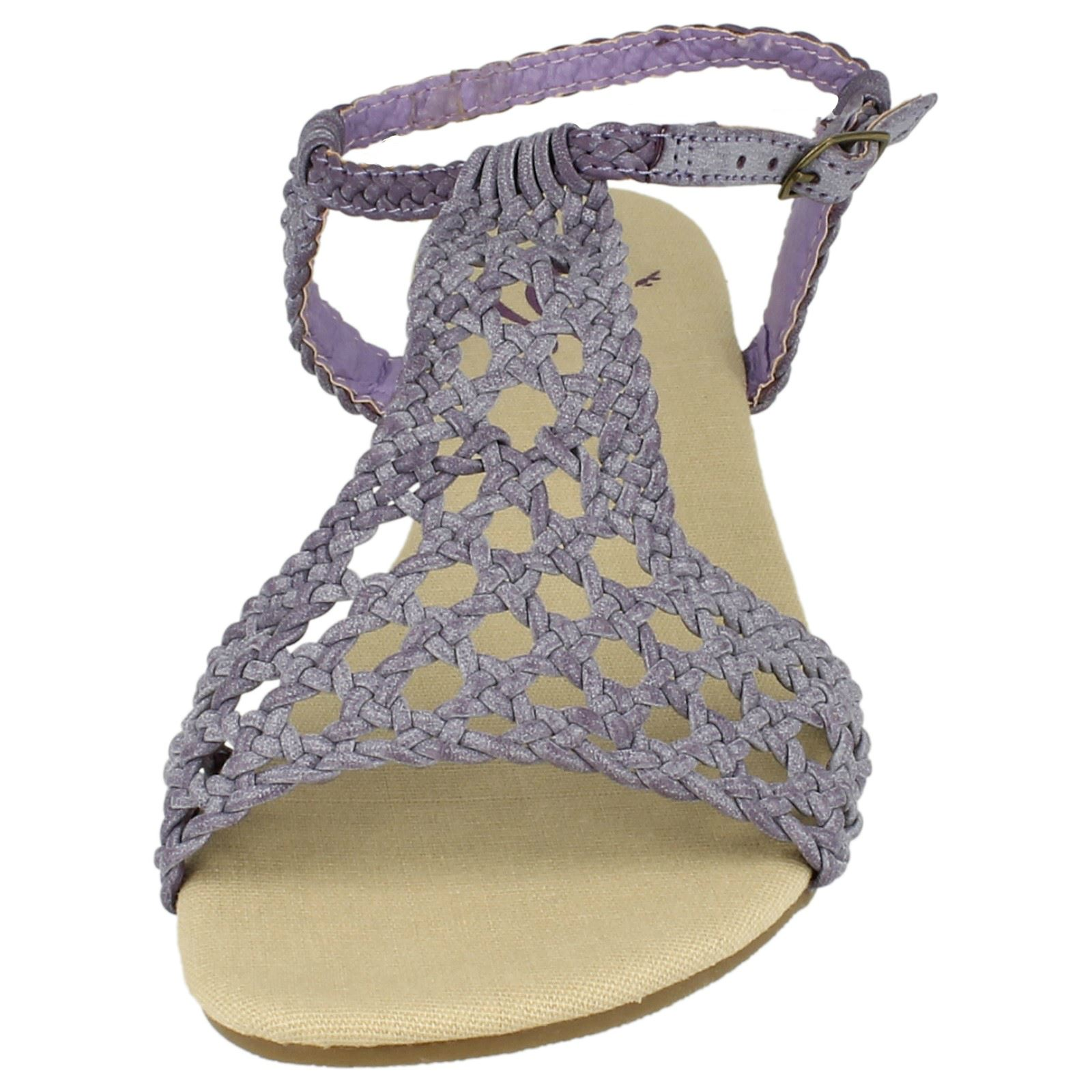 Spot On Ladies Flat Weaved Sandal