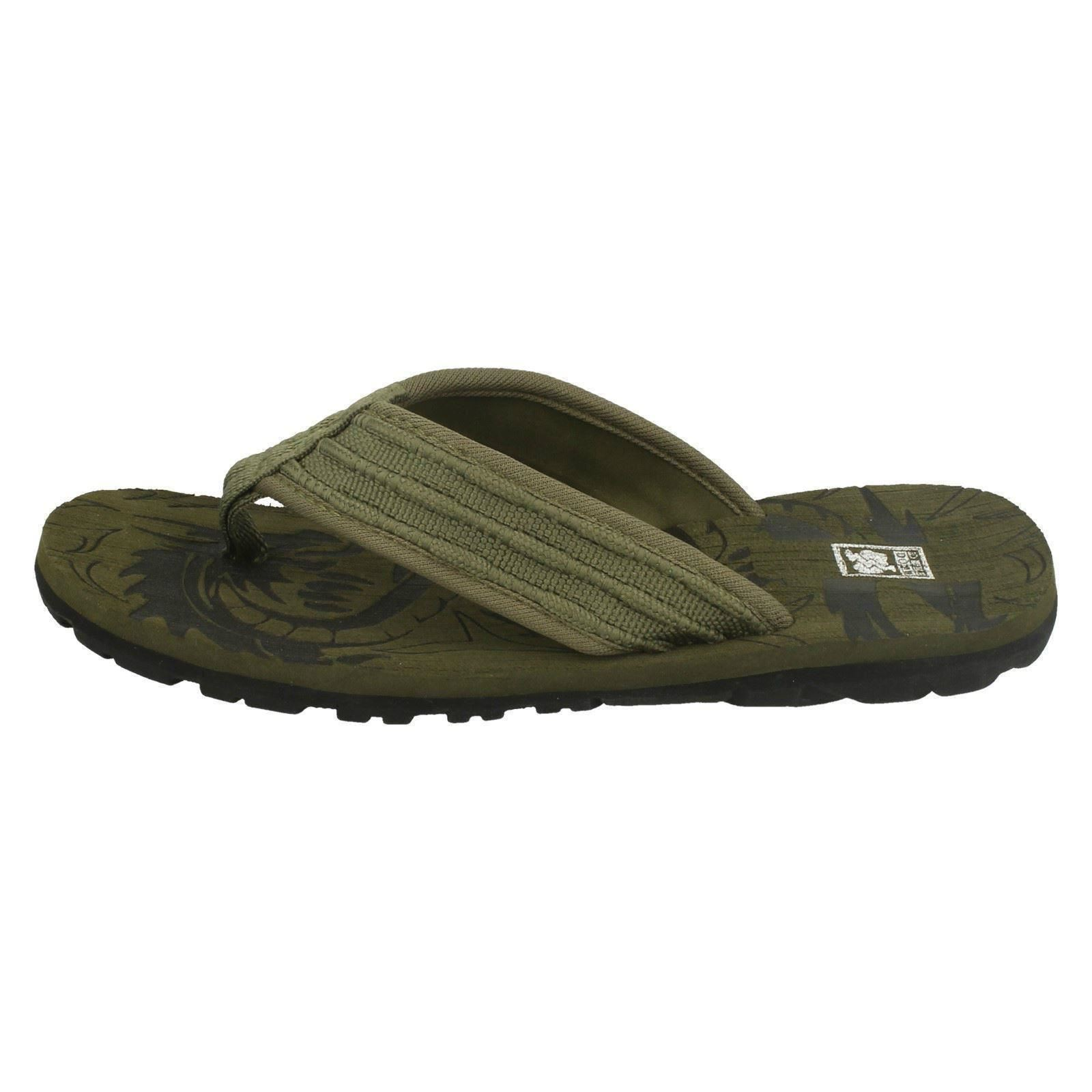 N0R041 Childrens Boys Down To Earth Textile Toe Post Mule Flip Flop Sandals