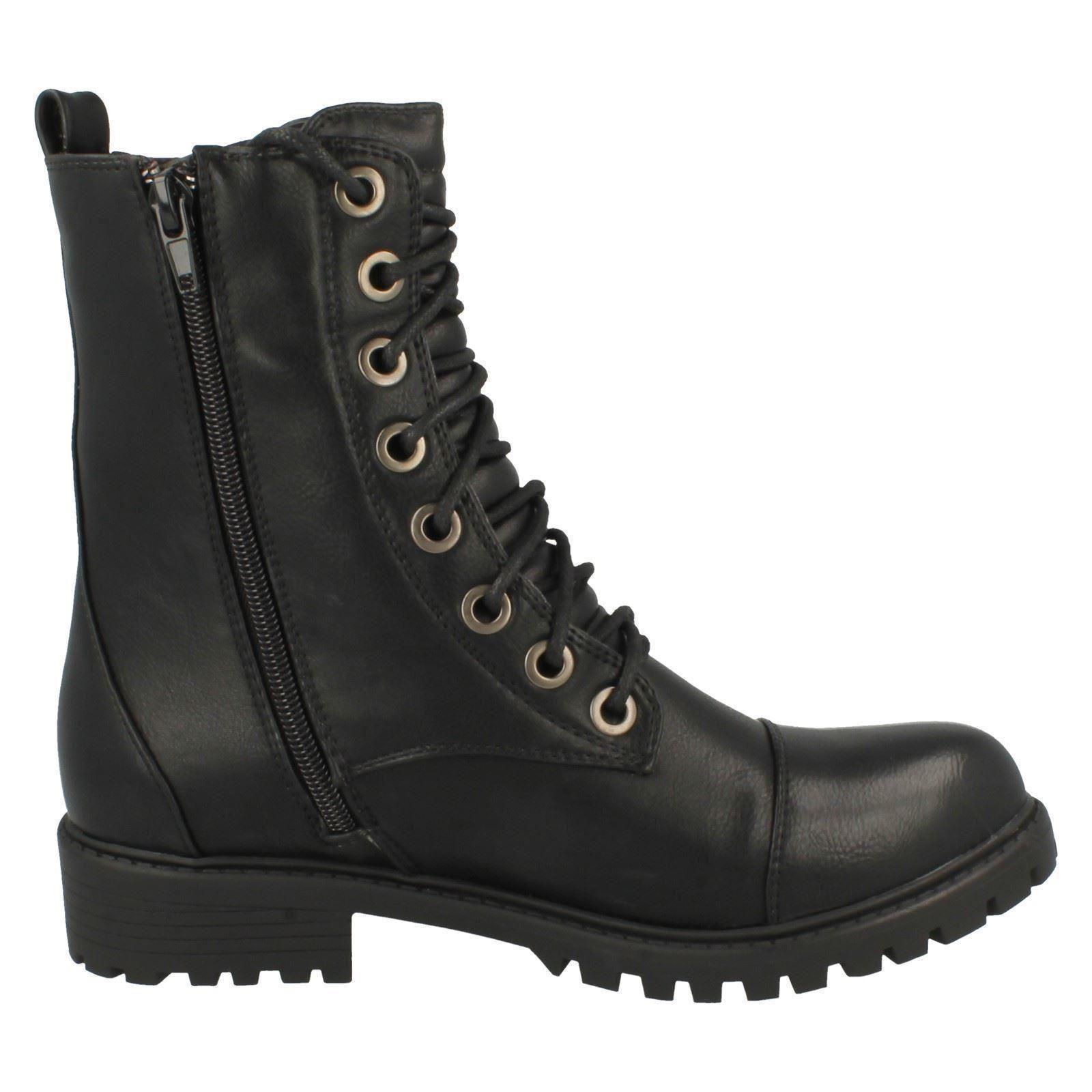 Ladies Spot On /'Combat Boots/'