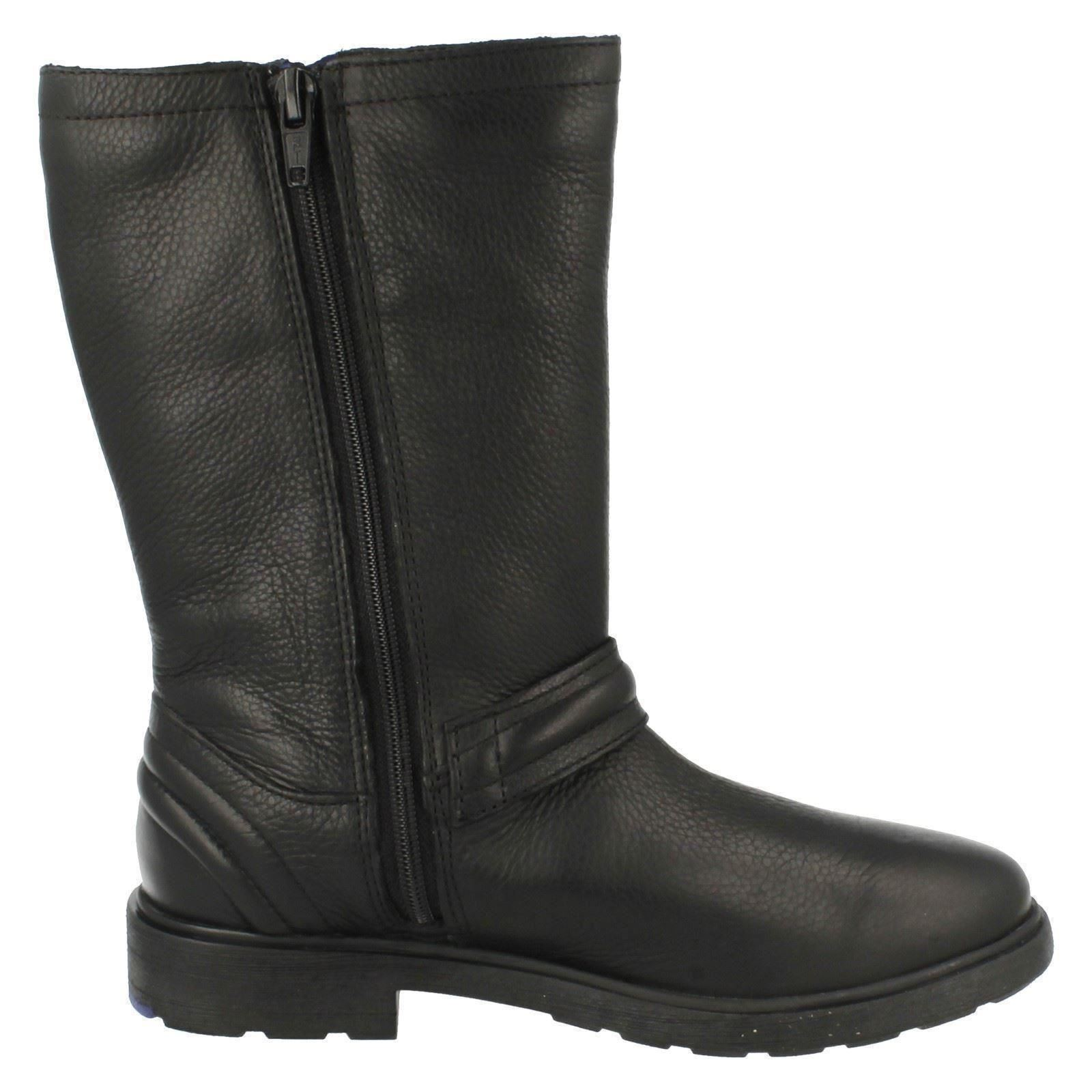 Girls Clarks Mid Calf Length Biker Chick Boots /'Ines Spot/'