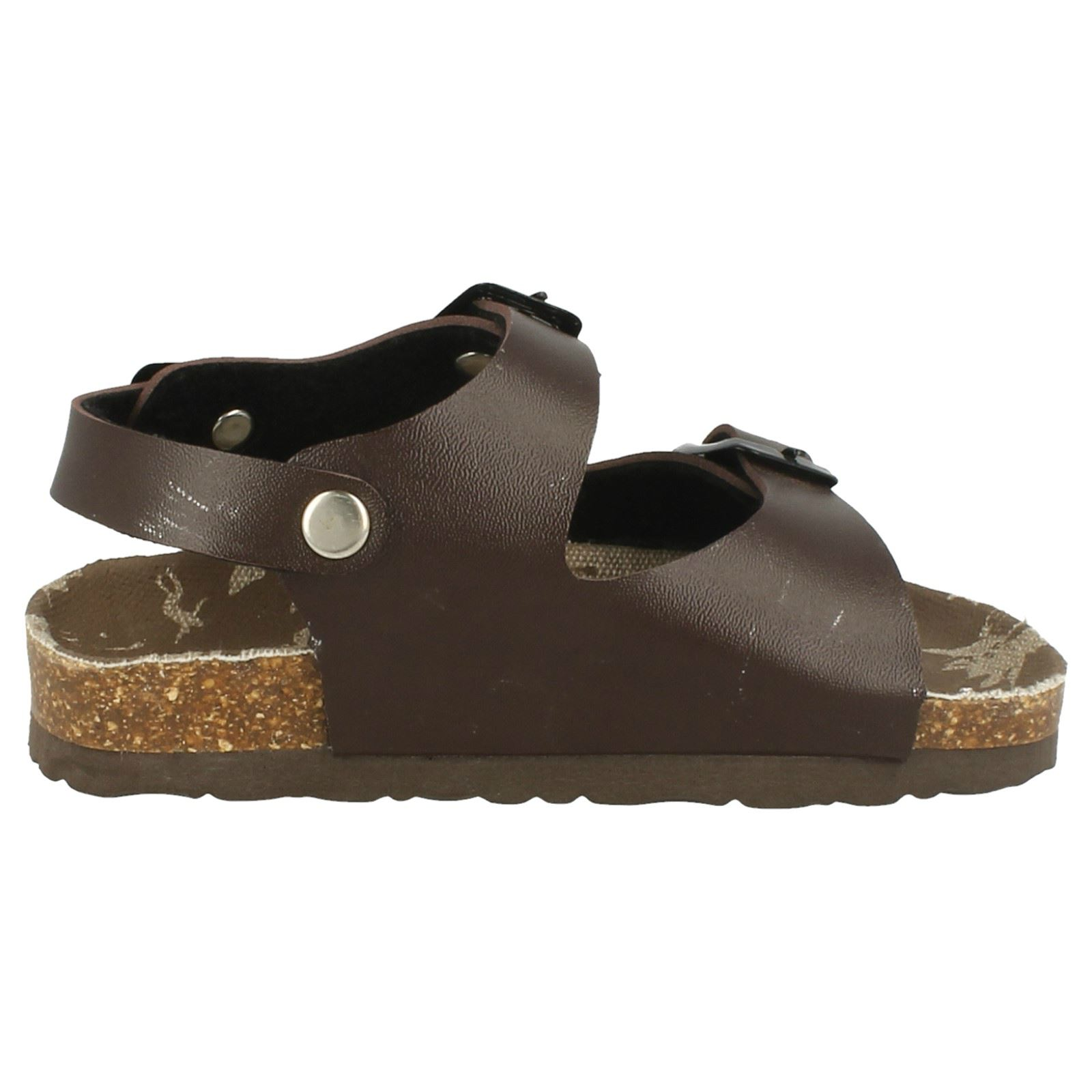Boys JCDees Flat Footbed 2 Buckle Strap Mule Sandal