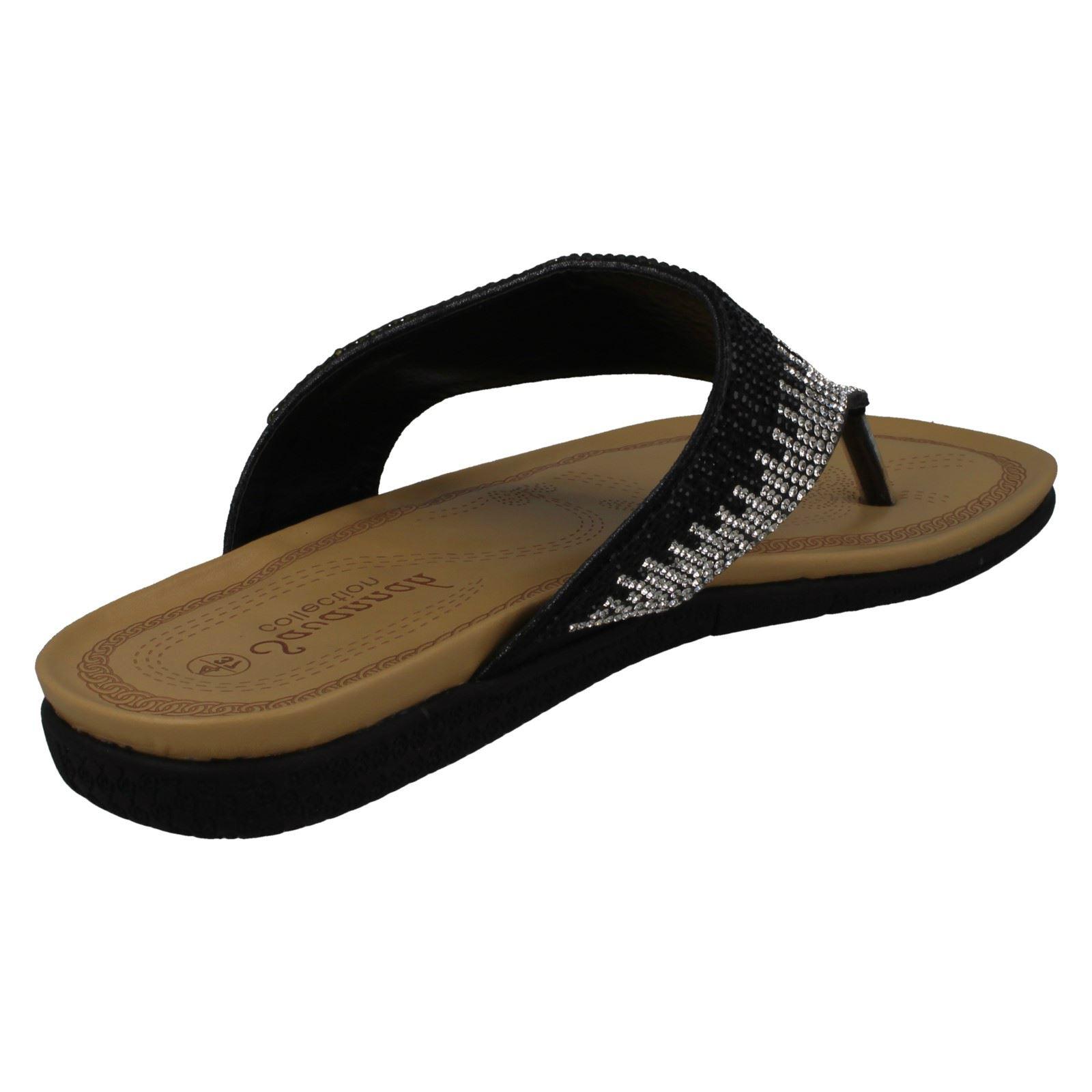 Ladies Savannah Diamante Toepost /'Sandals/'