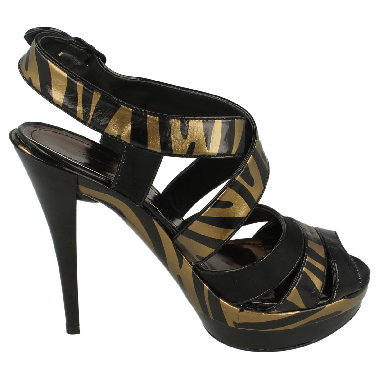 Ladies Spot On Zebra Print Strappy Heeled Sandals