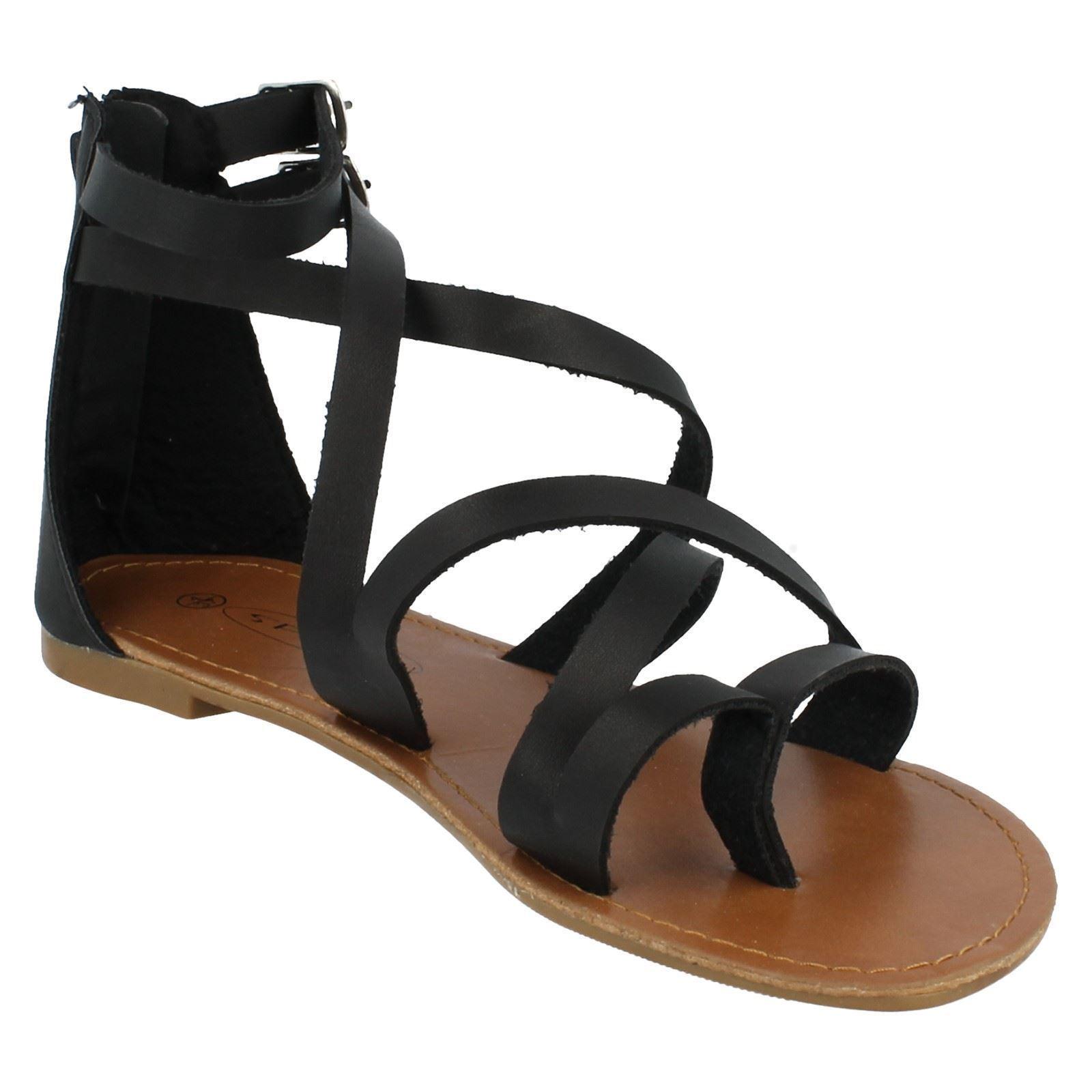 Spot On Ladies Ankle Strap Gladiator Sandals