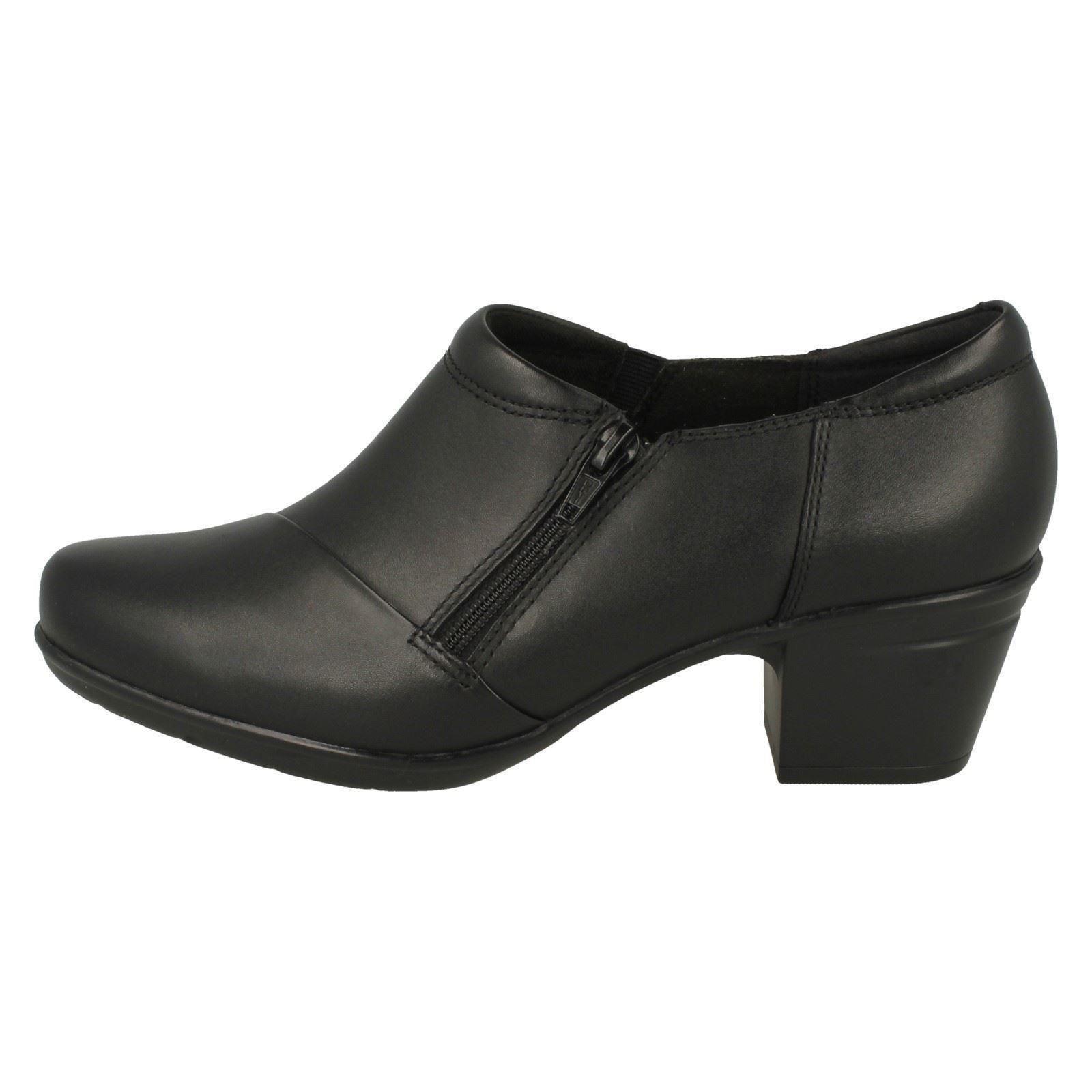 Ladies Smart Trouser Zip Up Block Heeled Leather Shoes Emslie Claudia