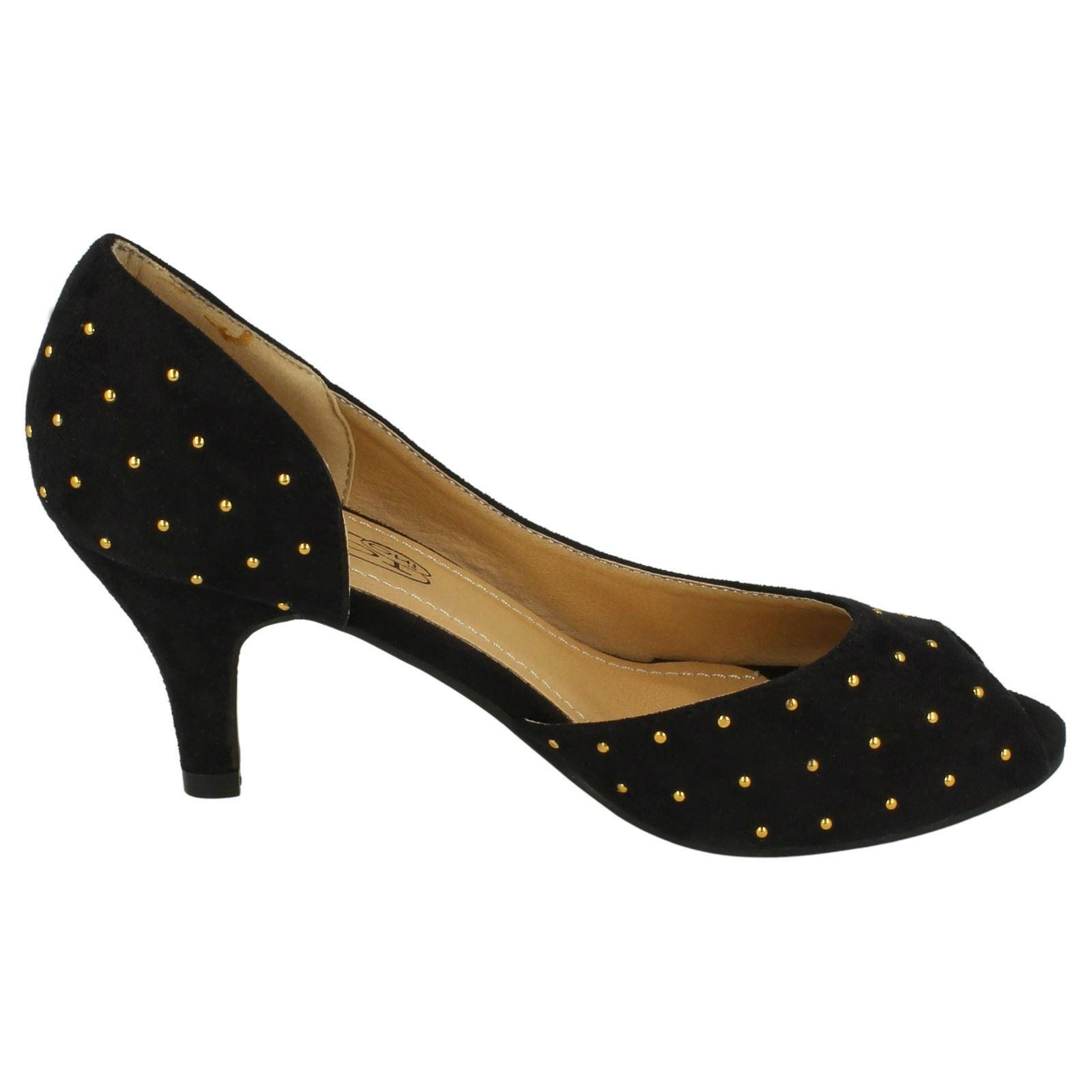 Ladies Spot On Mid Heel Inside Waisted Peep-Toe Court Shoes