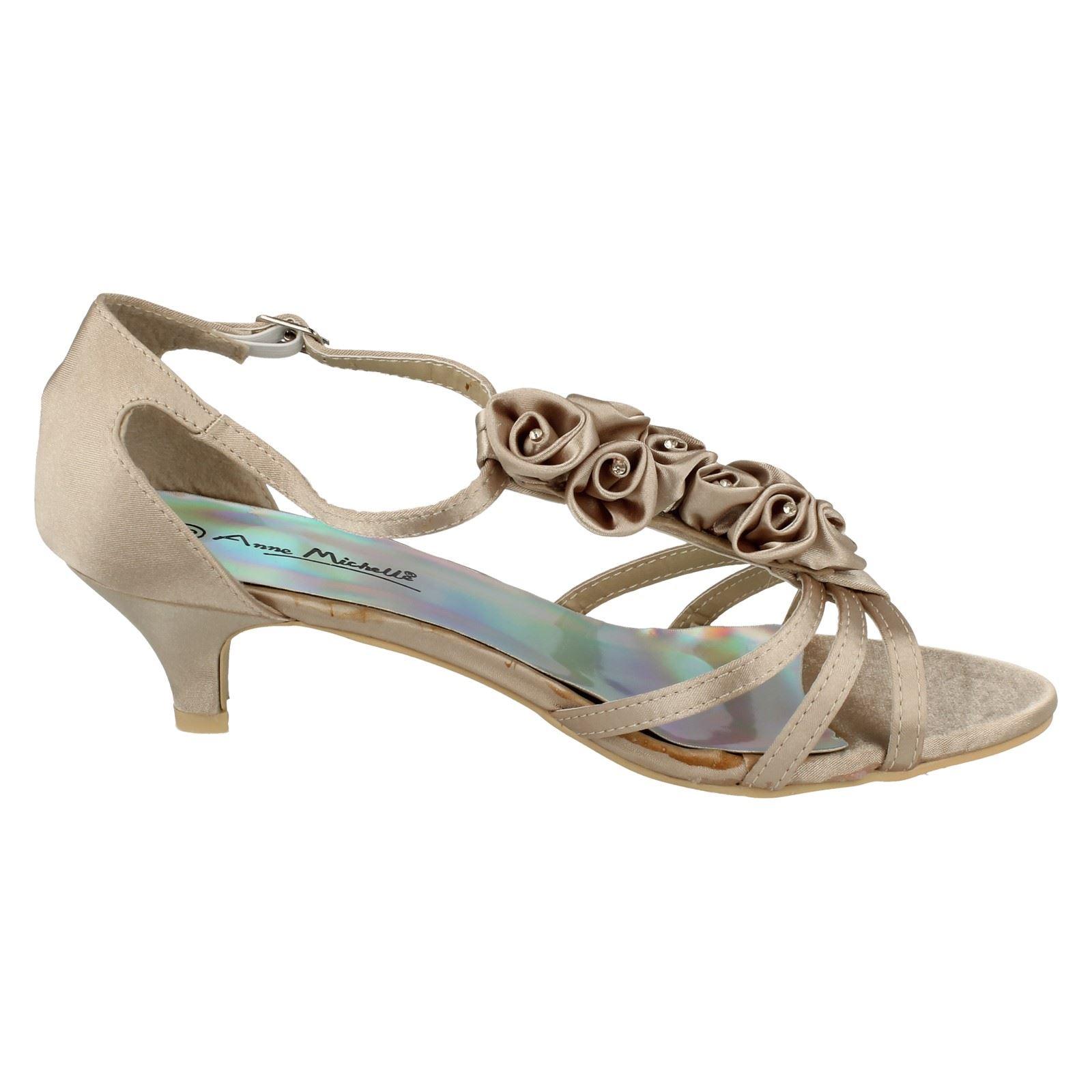 Ladies Anne Michelle Flower Detail Heeled Sandals
