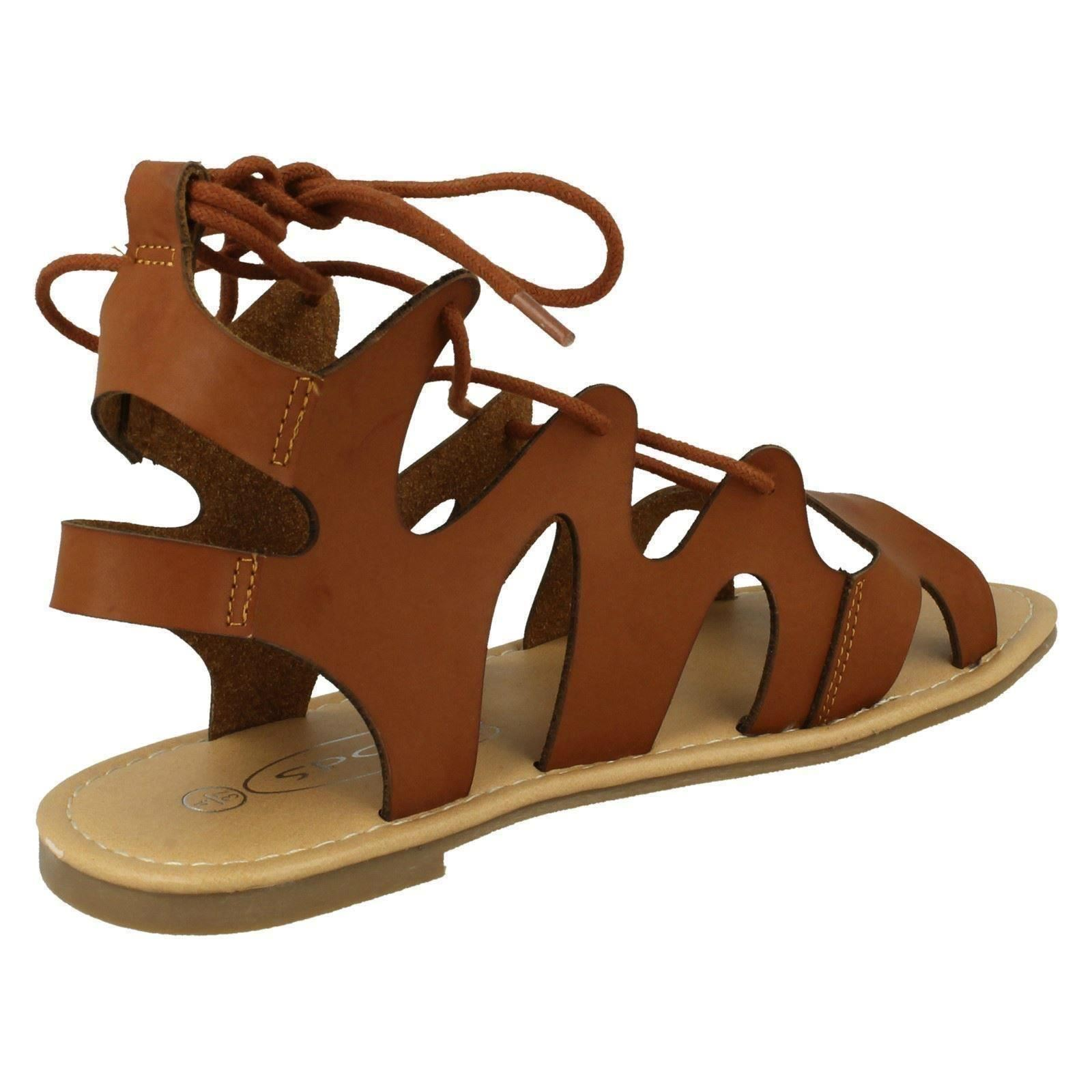 Ladies Spot On Lace Up Leg Flat Gladiator /'Sandals/'