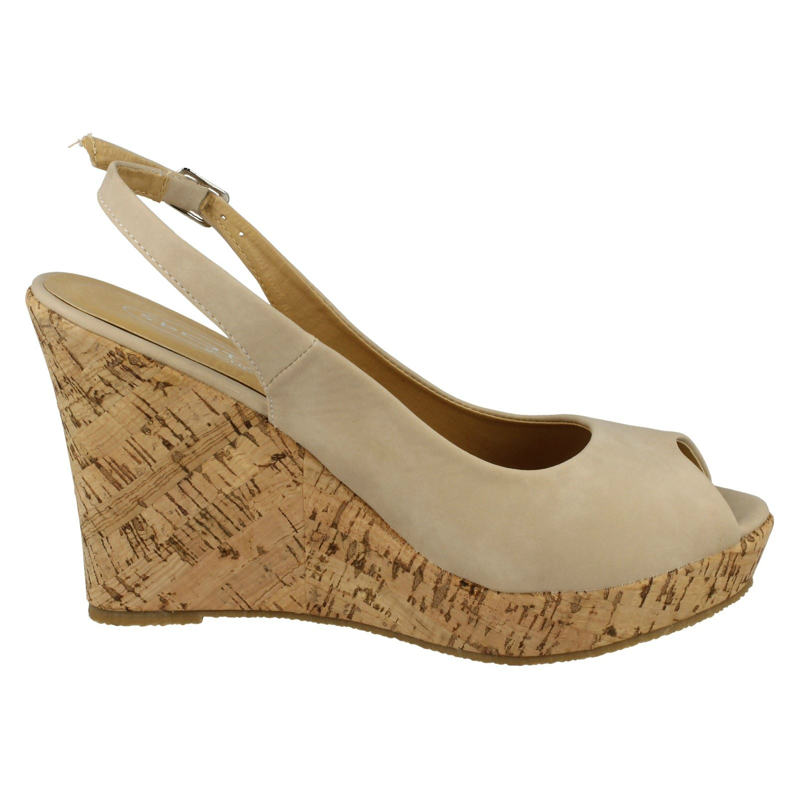 Ladies Spot On High Cork Platform Wedge Peep Toe /'Sandal/'