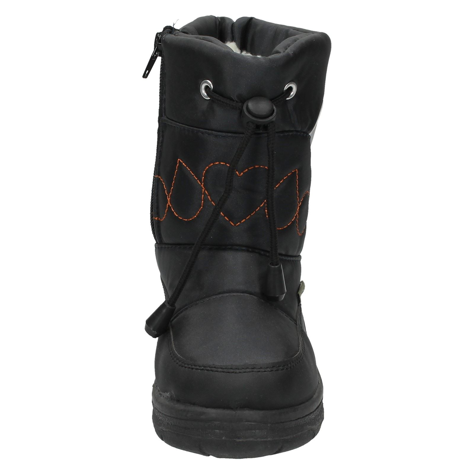 Snow Fun Boys Tie Front Embroidered Design Snow Boots 8.561801A