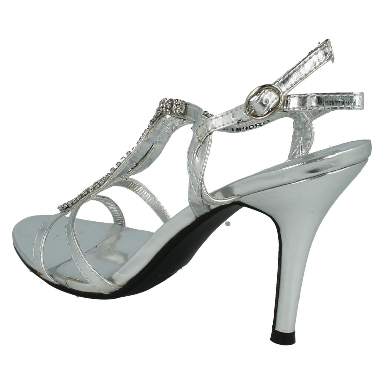 Ladies Spot On Mid Heeled Diamante /'Sandals/'