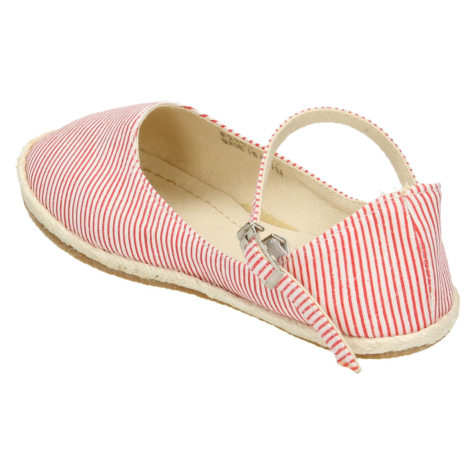 Girls Spot On Striped Flat /'Espadrille/'