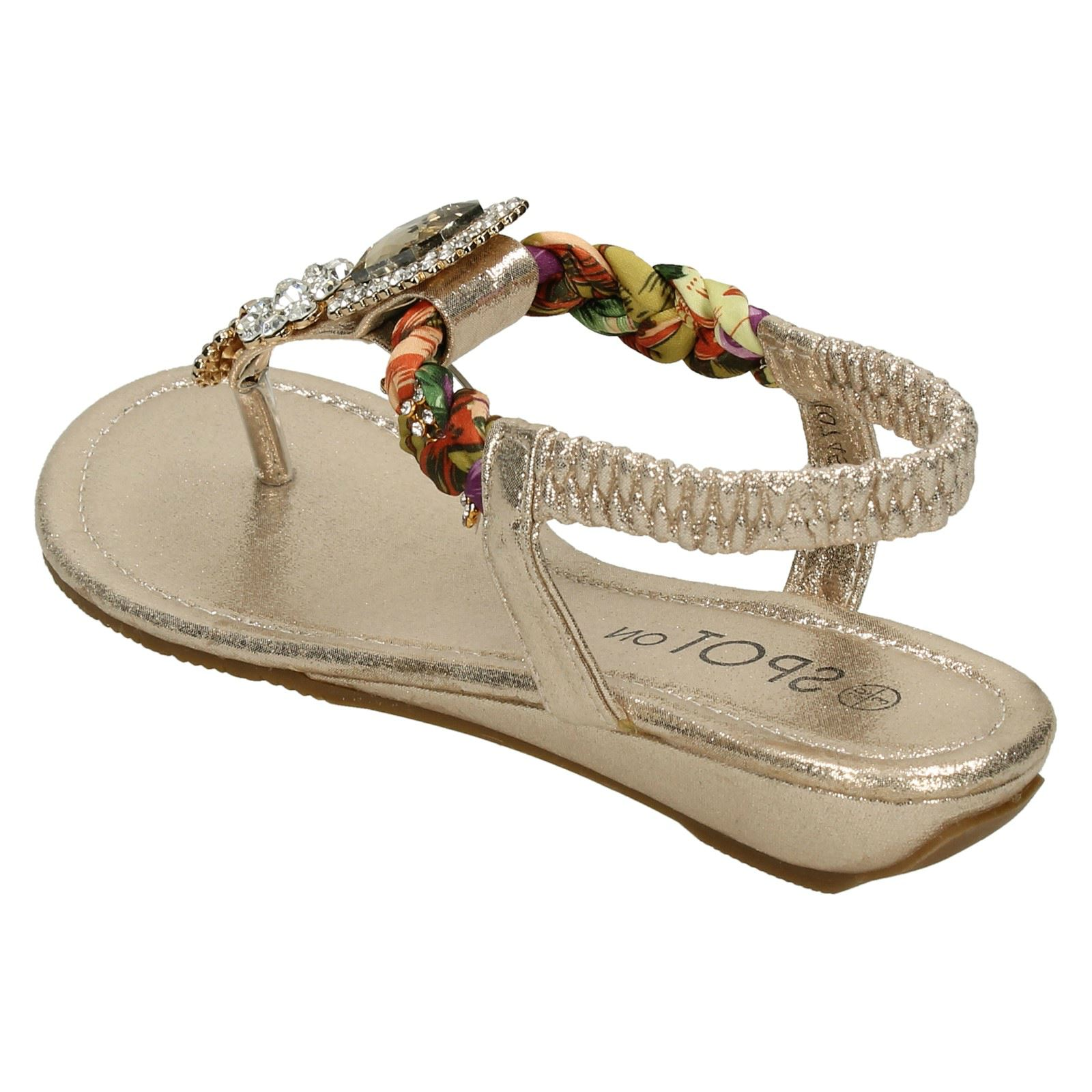 Ladies Spot On Low Wedge Jewelled Sandals