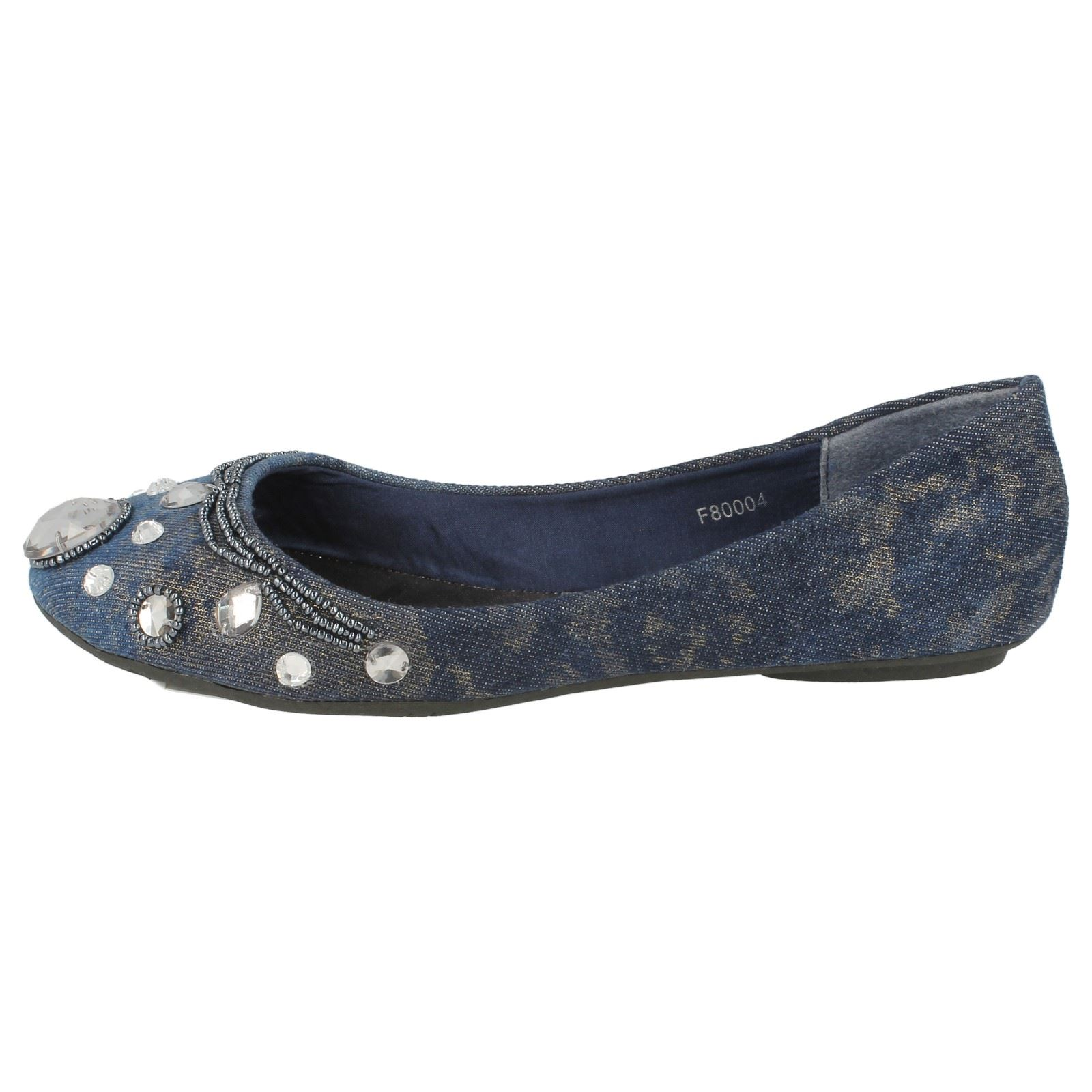 Ladies Spot On Denim Ballerina Jewel Beaded Vamp