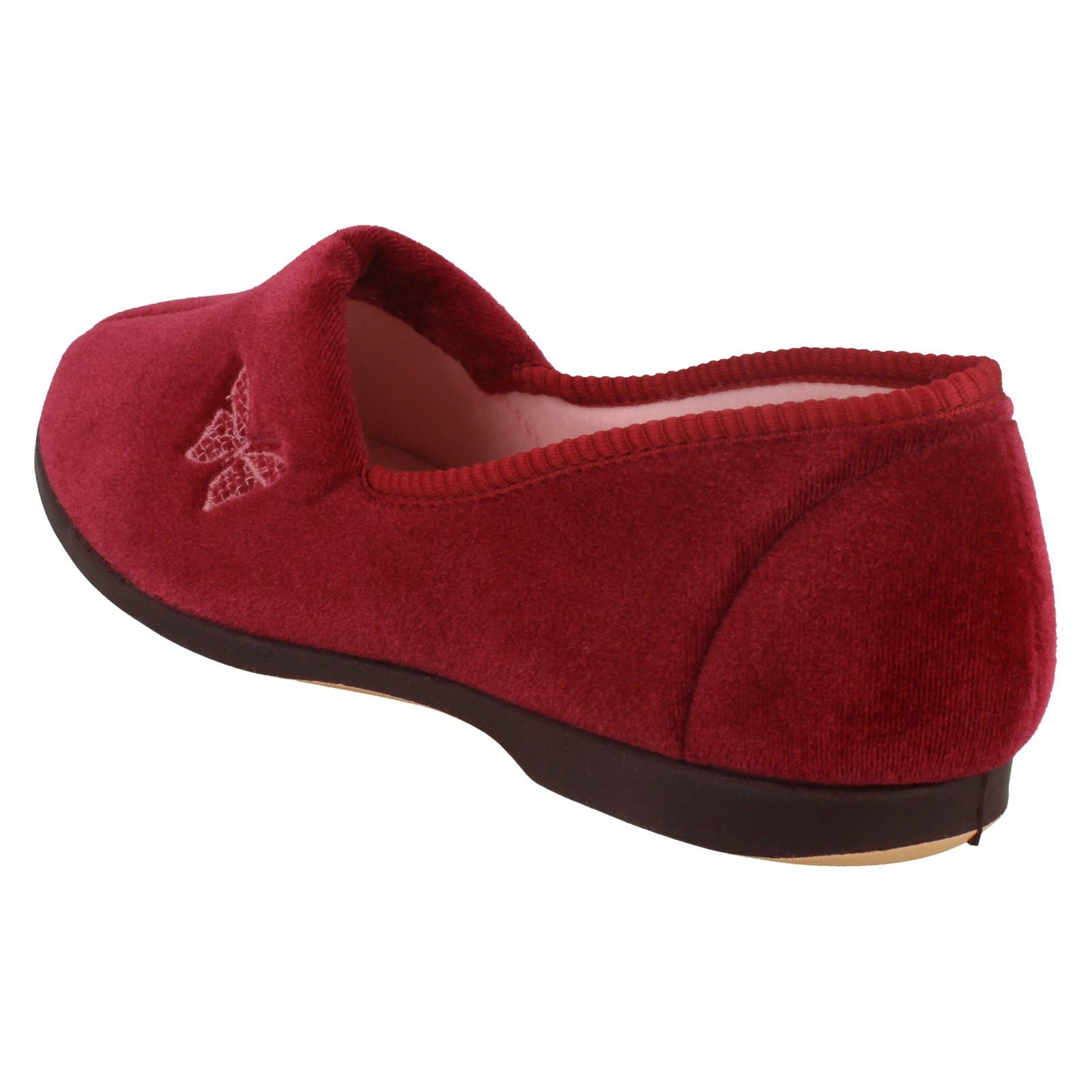 Ladies Spot on Velour Farfalla Trim-Pantofola