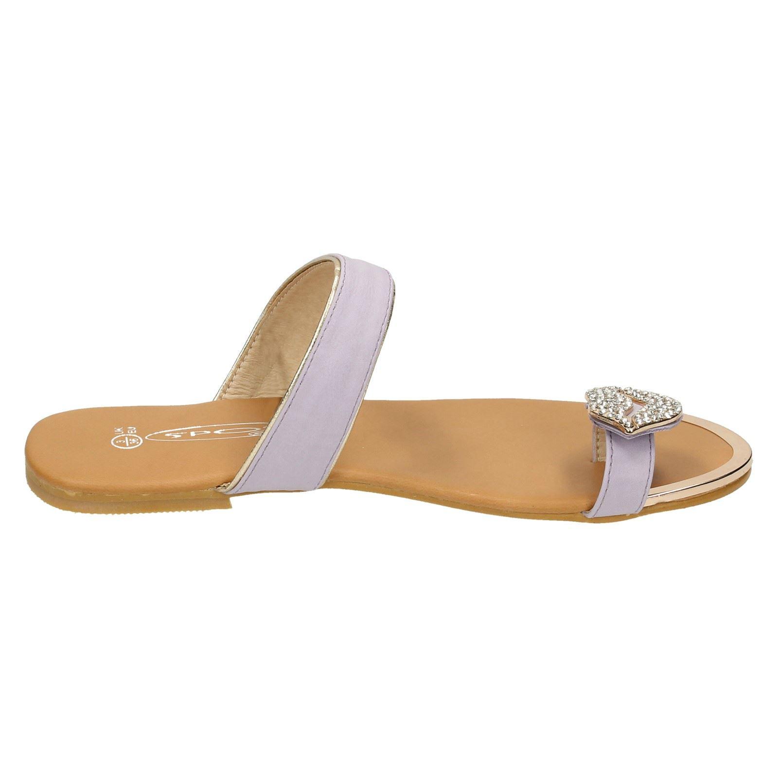 Ladies Spot On Flat Toeloop Sandal With Toe Loop Detail