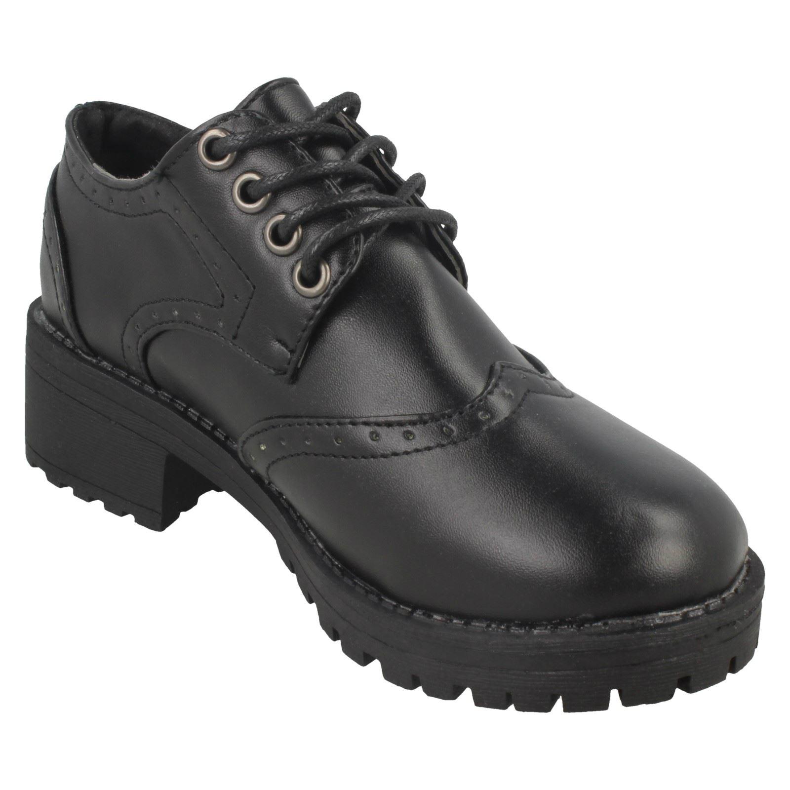 Girls Spot On Mid Chunky Heel Brogue School Shoes *H3071*