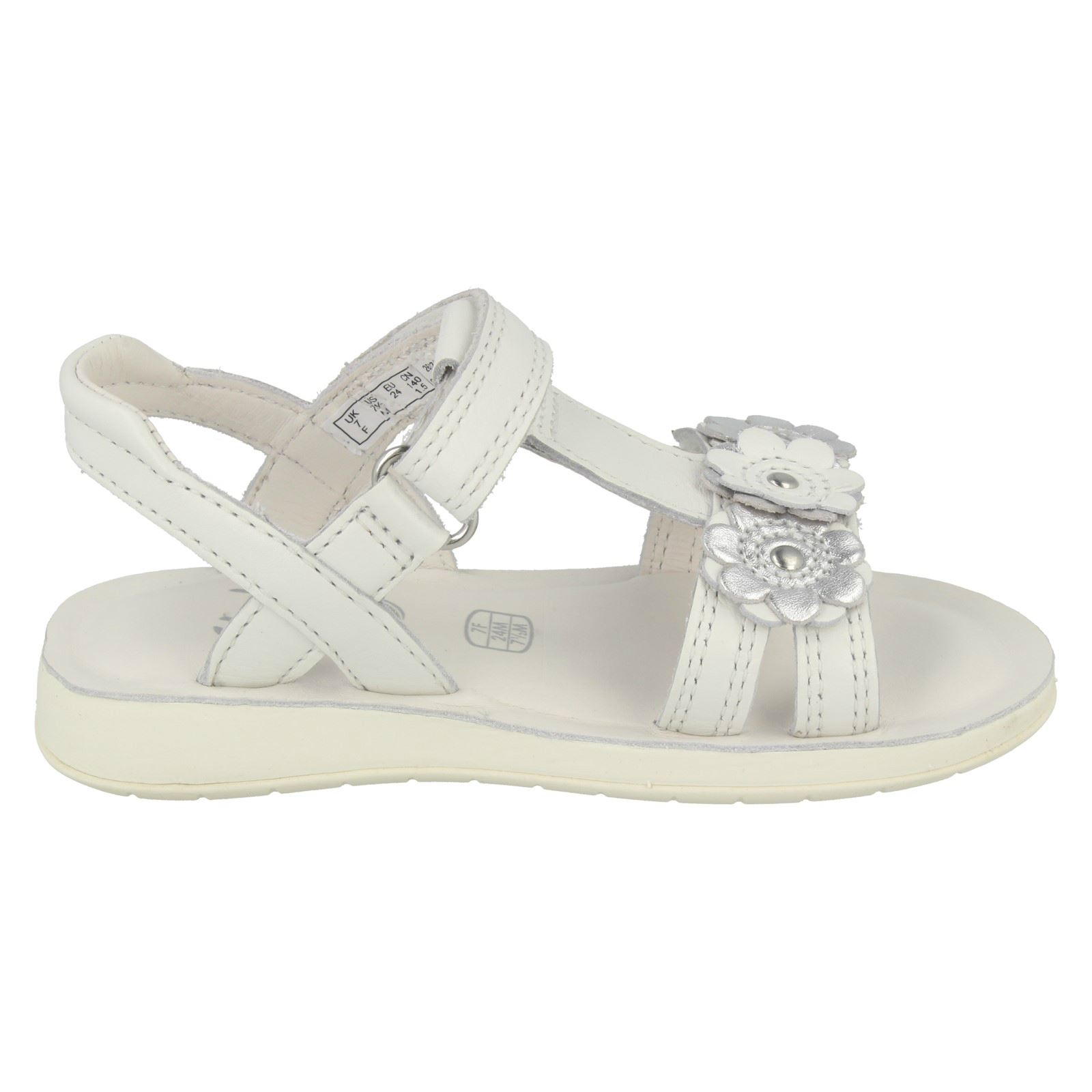 Clarks Girls Gladiator Style Sandals With Flower Detail Sea Sally