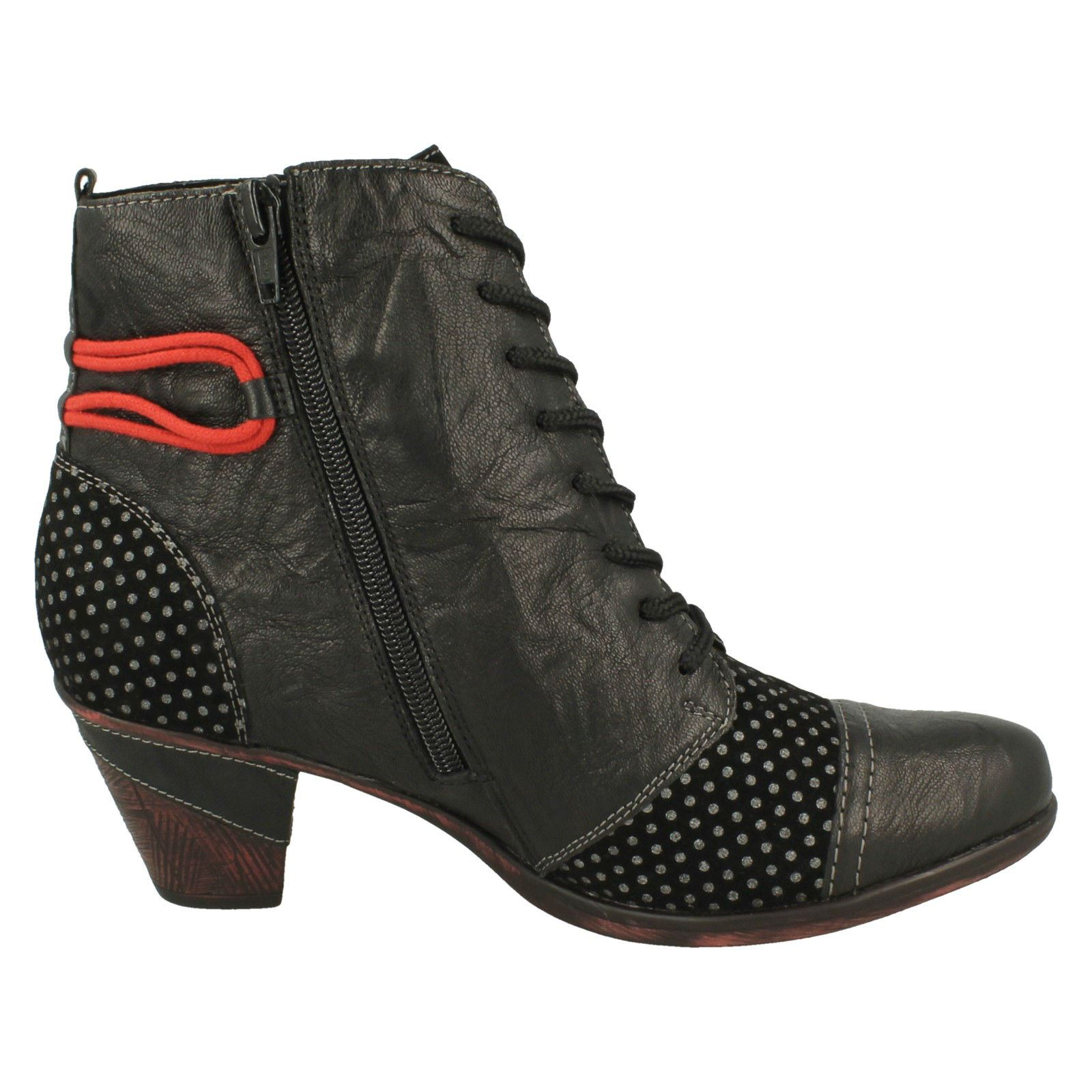 Ladies Remonte Lace Up Heeled Boots /'D8786/'