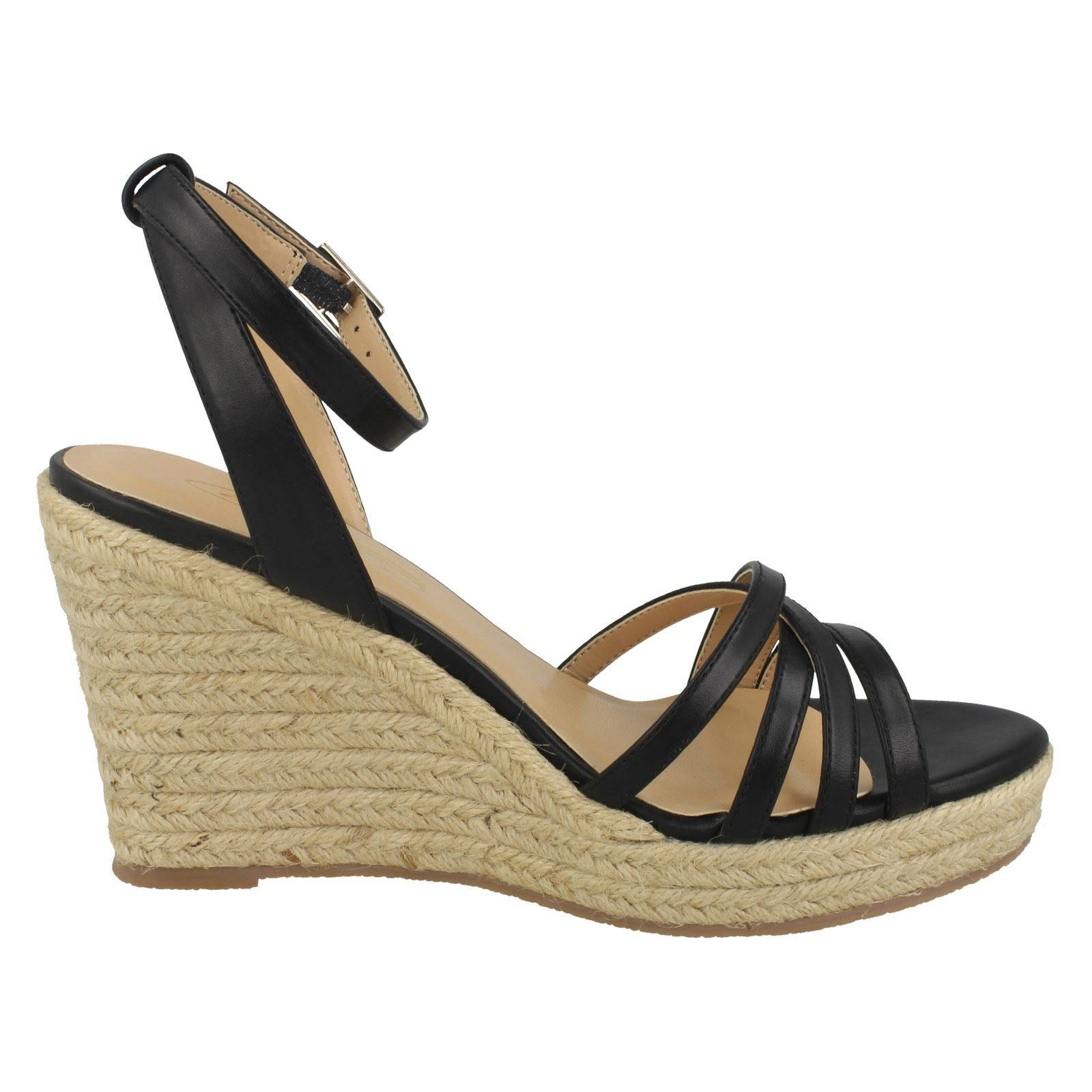 Ladies Spot On Rope Wedge Strappy Sandals