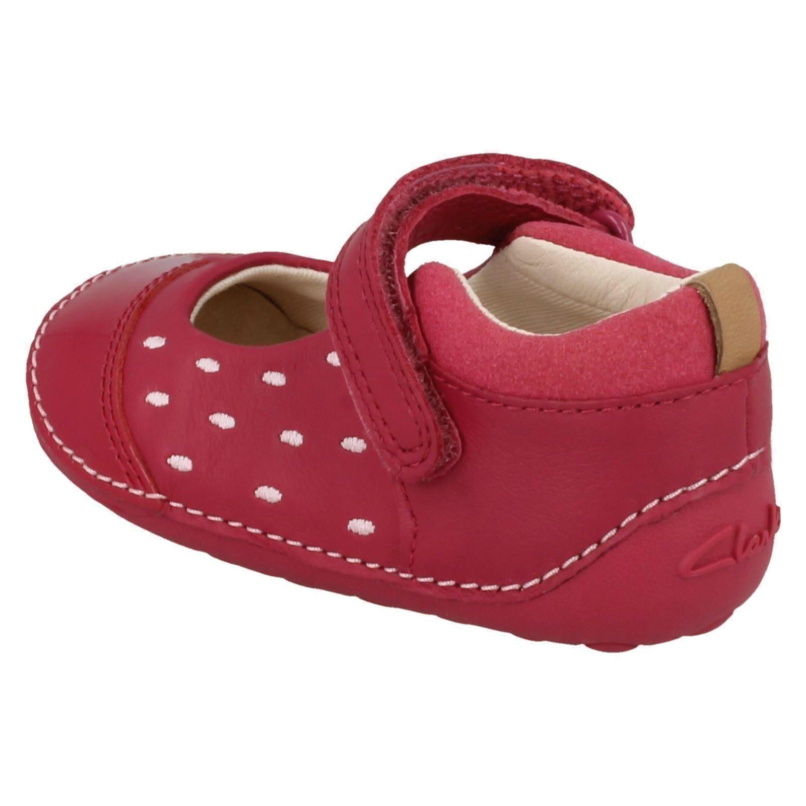 Girls Clarks Casual Mary Jane Style Hook /& Loop Leather Flats Little Lou