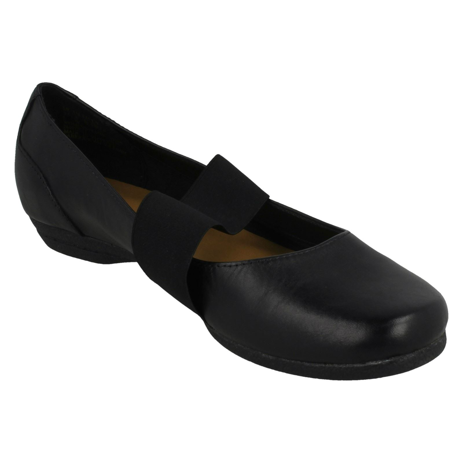 Ladies Clarks Cushioned Slip On Patent Leather Smart Flats Discovery Ritz