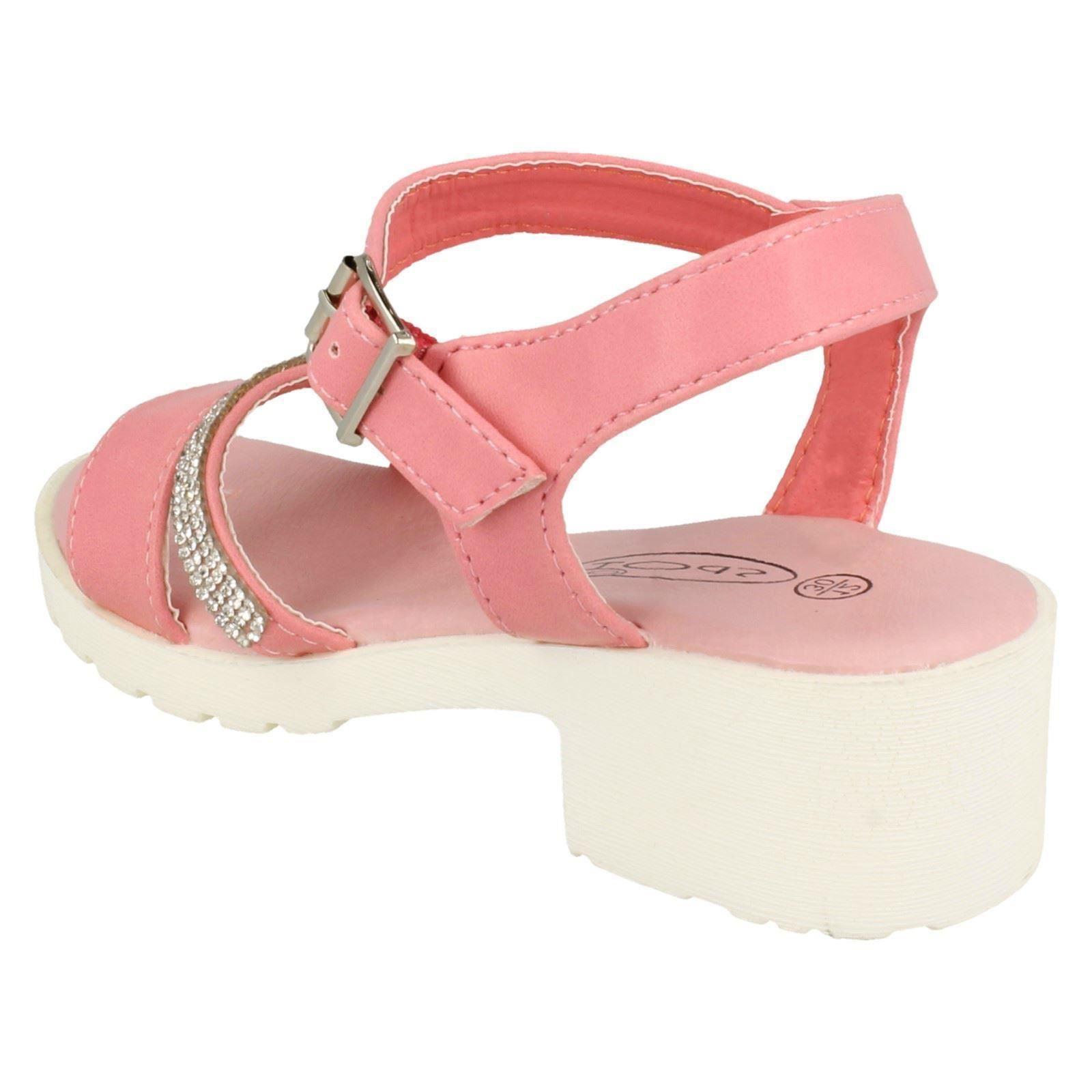 Girls Spot On Mid Heel Diamante Strap Ankle Buckle /'Sandal/'