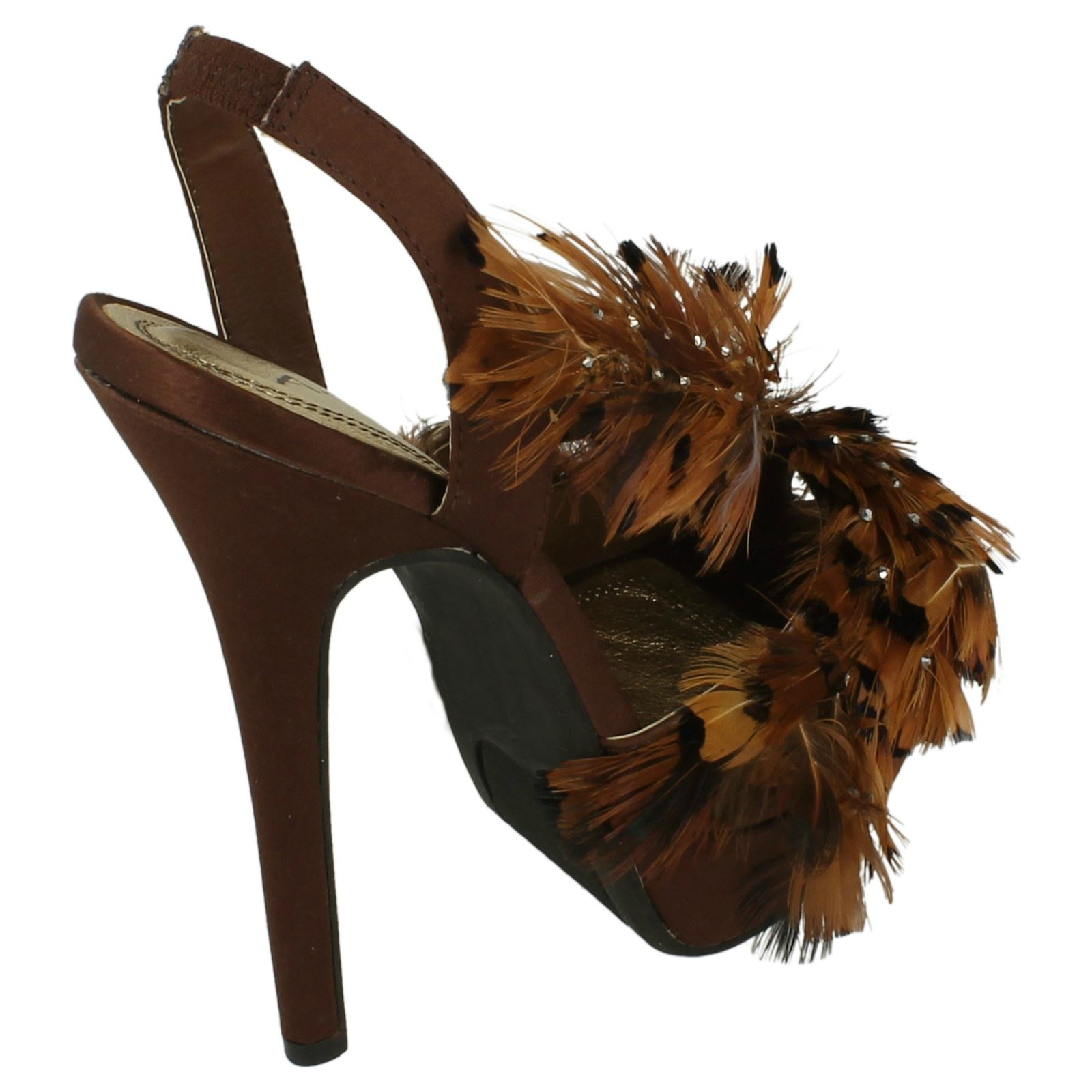 Ladies Anne Michelle Satin High Heel Platform Slingback Sandals L3367