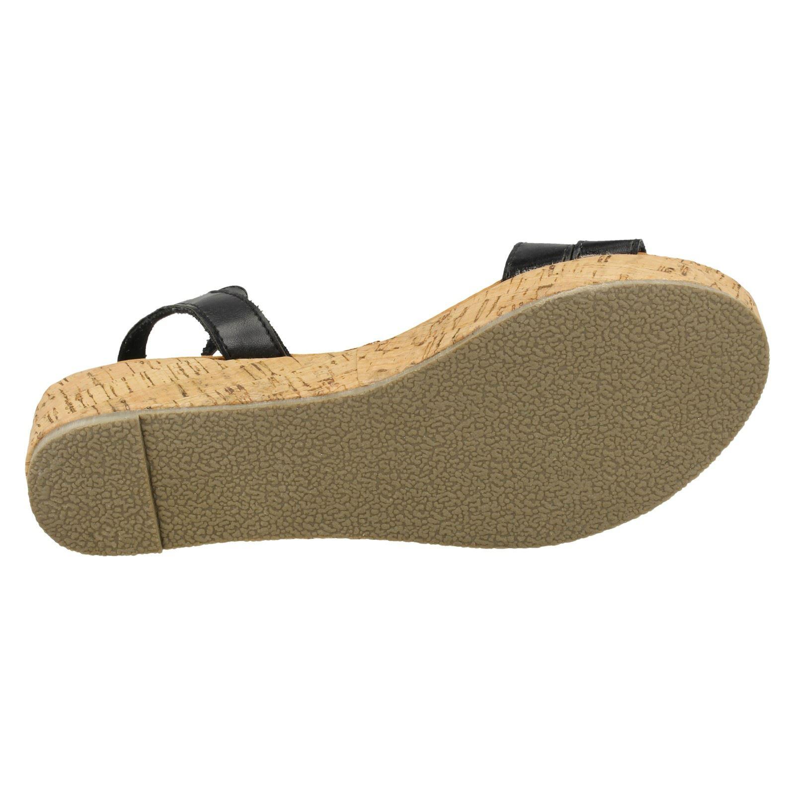 Ladies Spot On Cork Flatform /'Sandal/'