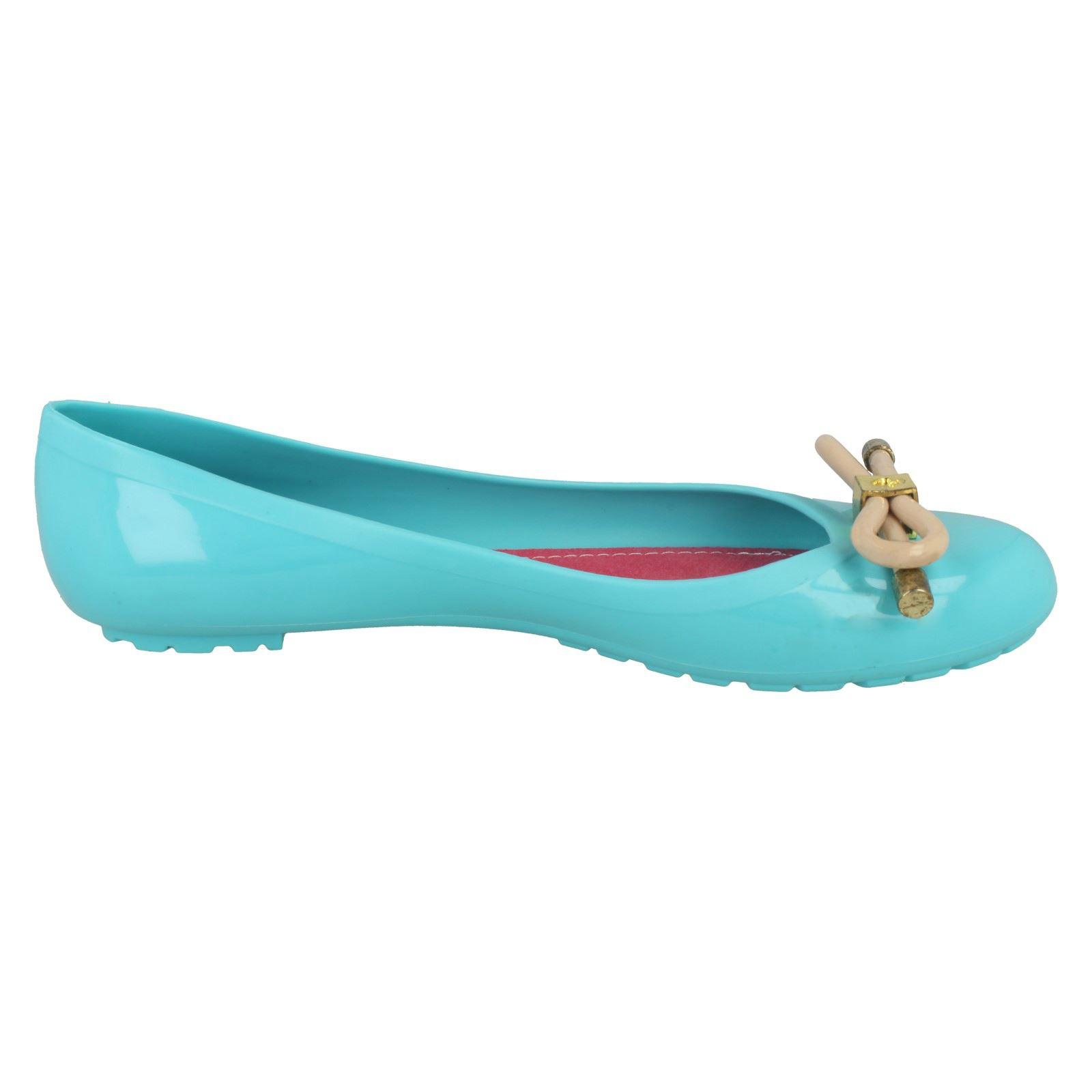 Femmes Spot On Lacet Plat jelly shoes