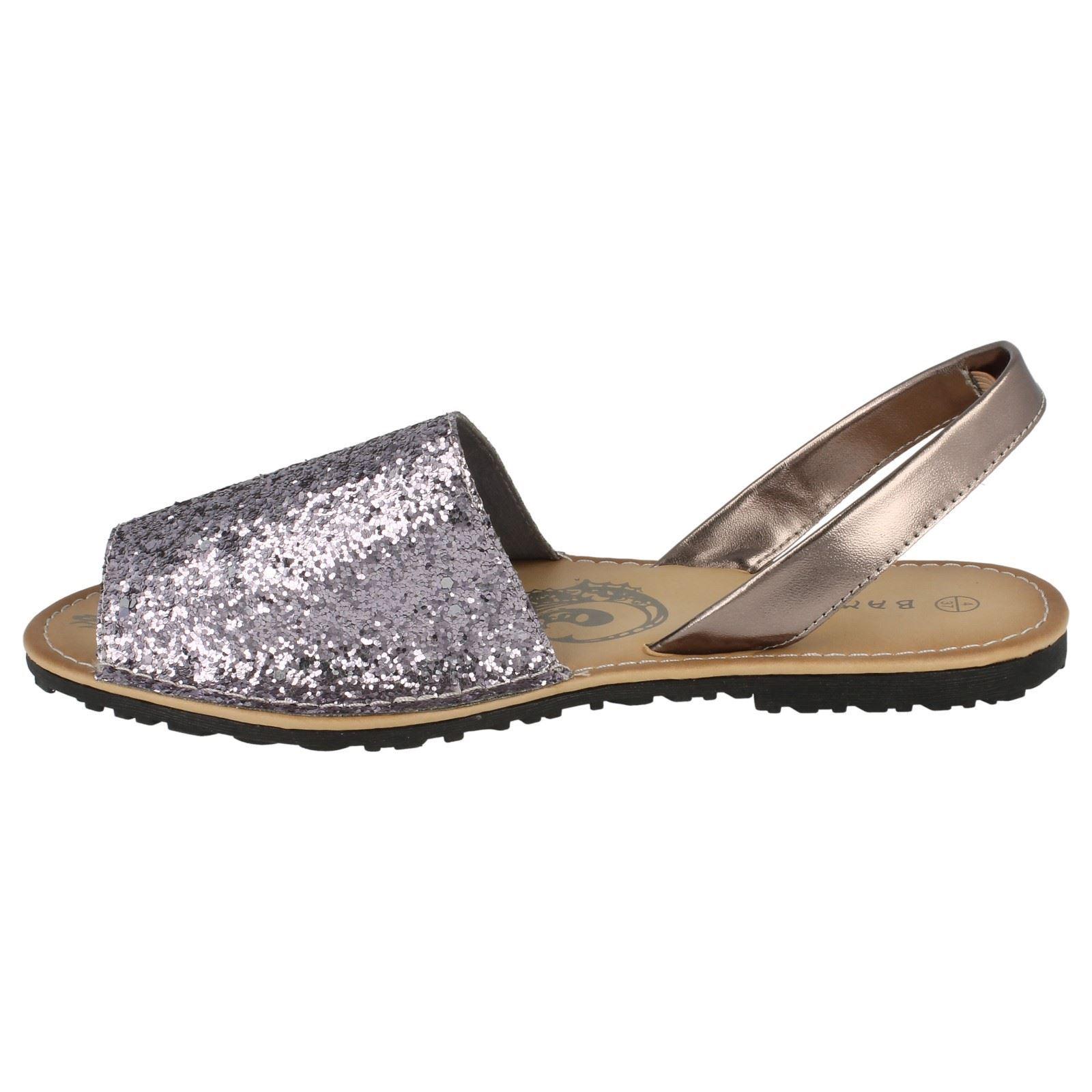 Girls Spot On Flat Mule Slingback Glitter Sandals