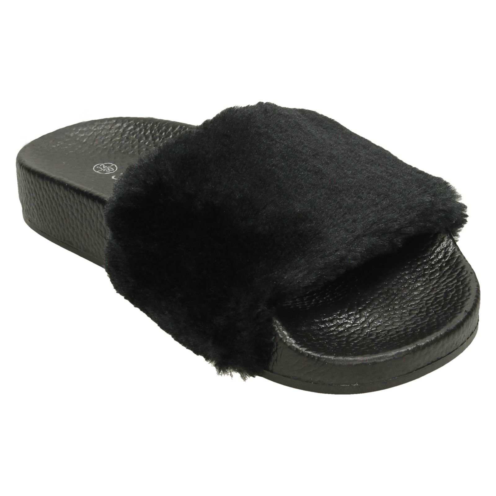 Girls Spot On Faux Fur Mules