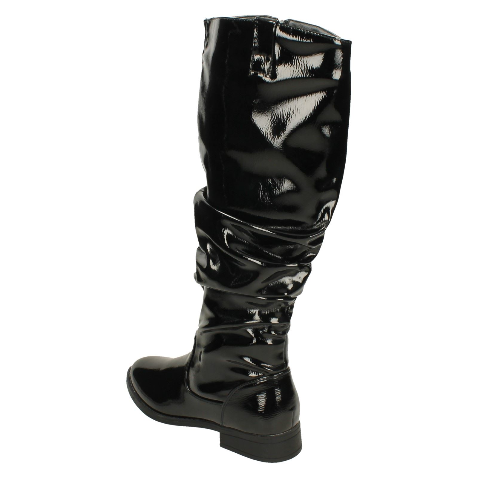 Ladies Spot On Low Heel Rouched High Leg Boot