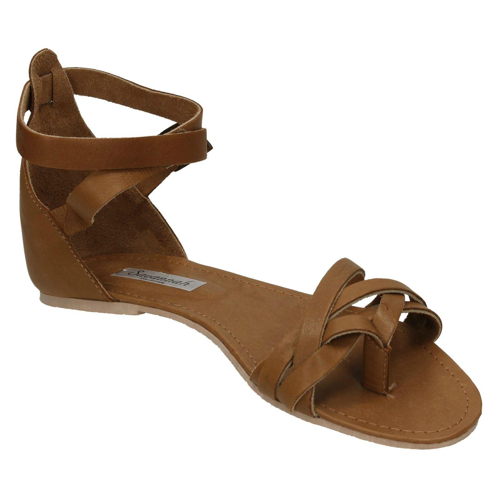 Ladies Savannah Flat Leather Toepost /'Sandals/'