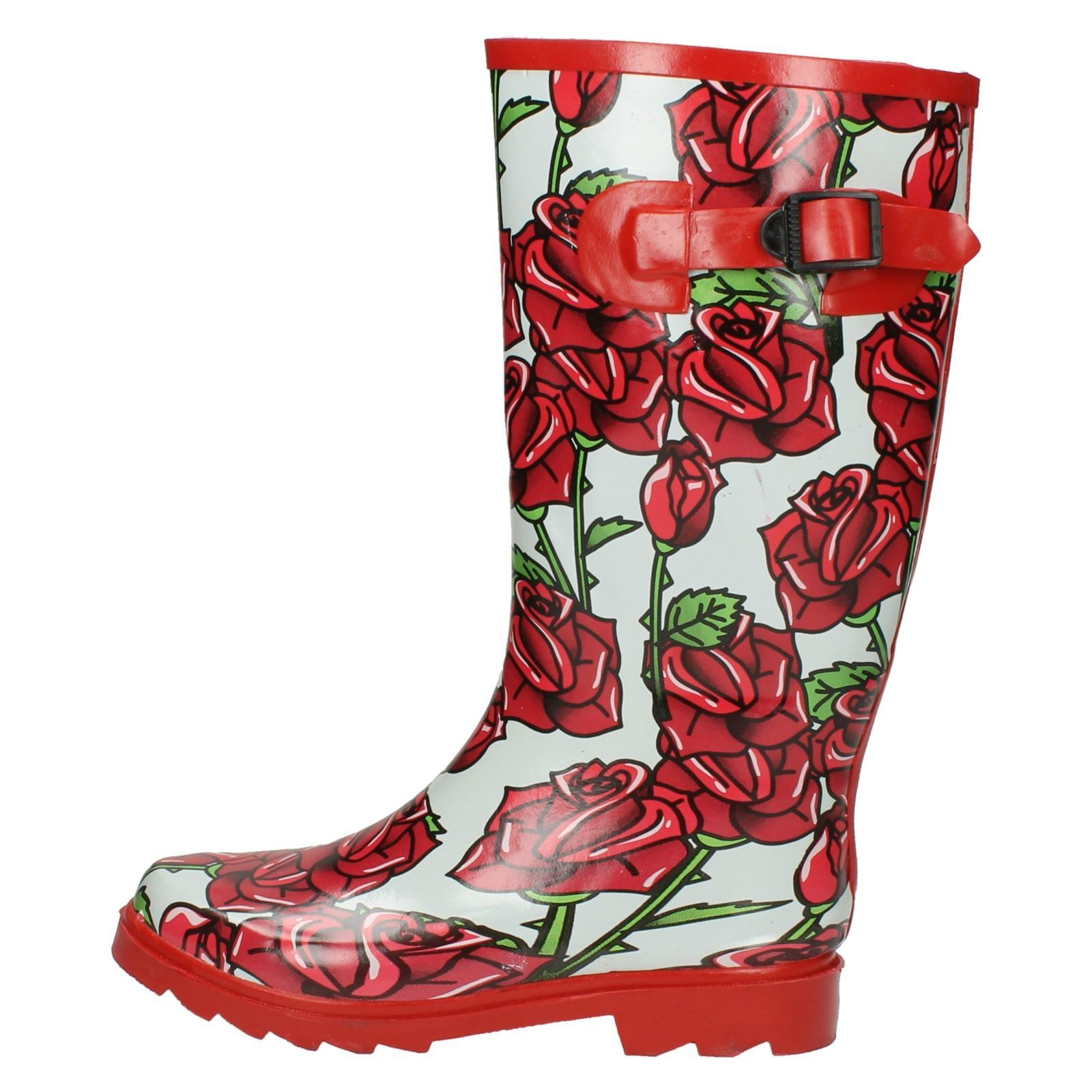 Spot On Womens Roses Print Wellington